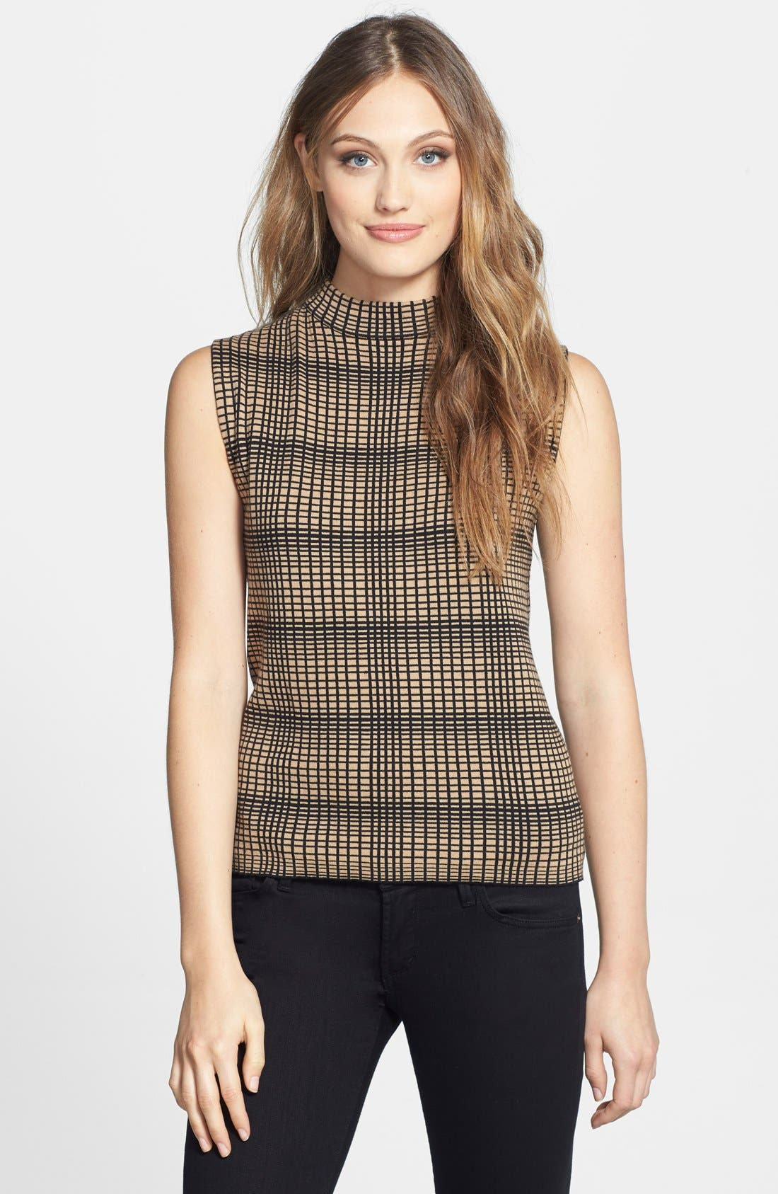 Main Image - Vince Camuto Plaid Jacquard Sleeveless Sweater