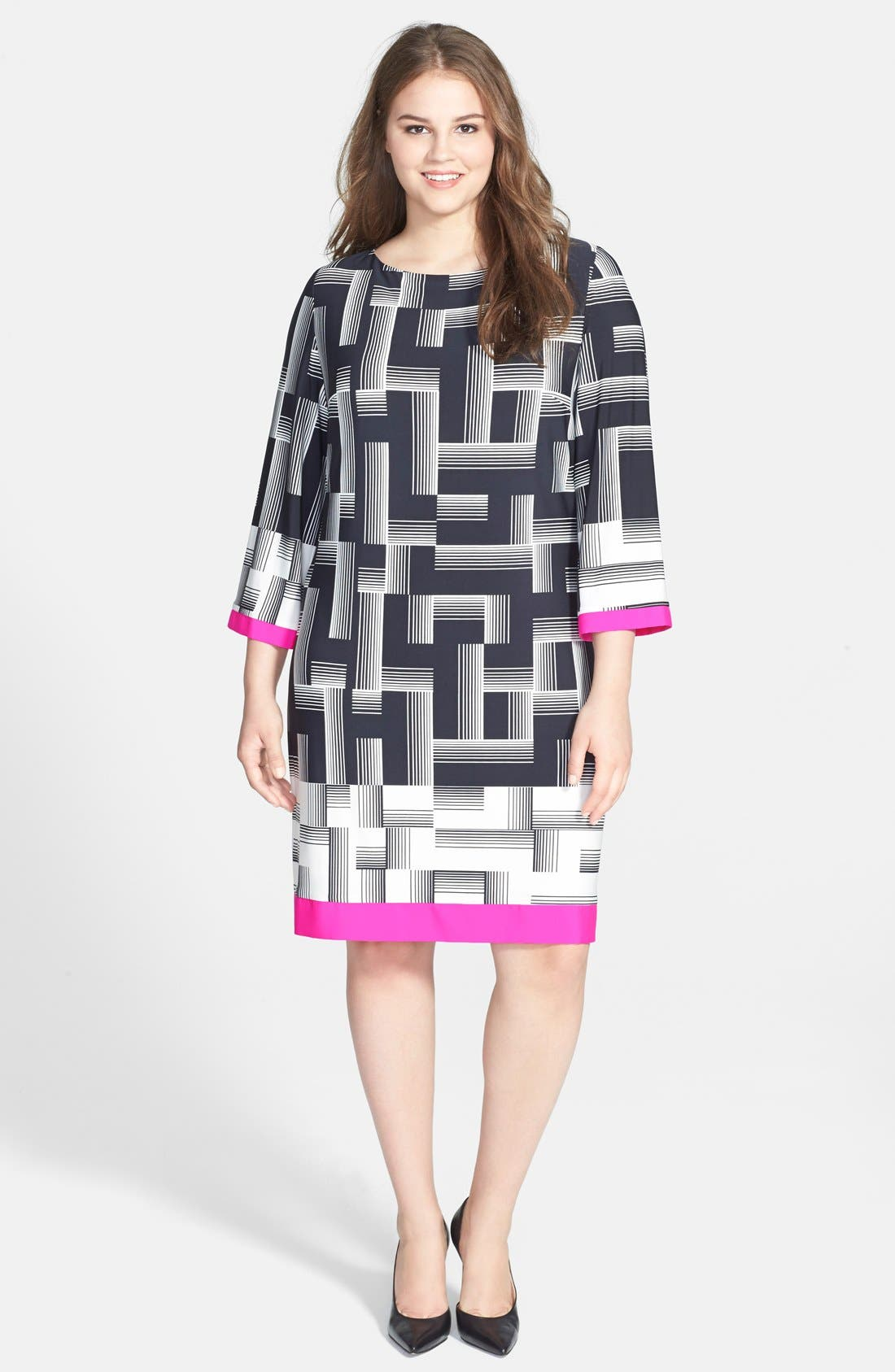 Alternate Image 1 Selected - Eliza J Print Woven Trim Sheath Dress (Plus Size) (Online Only)
