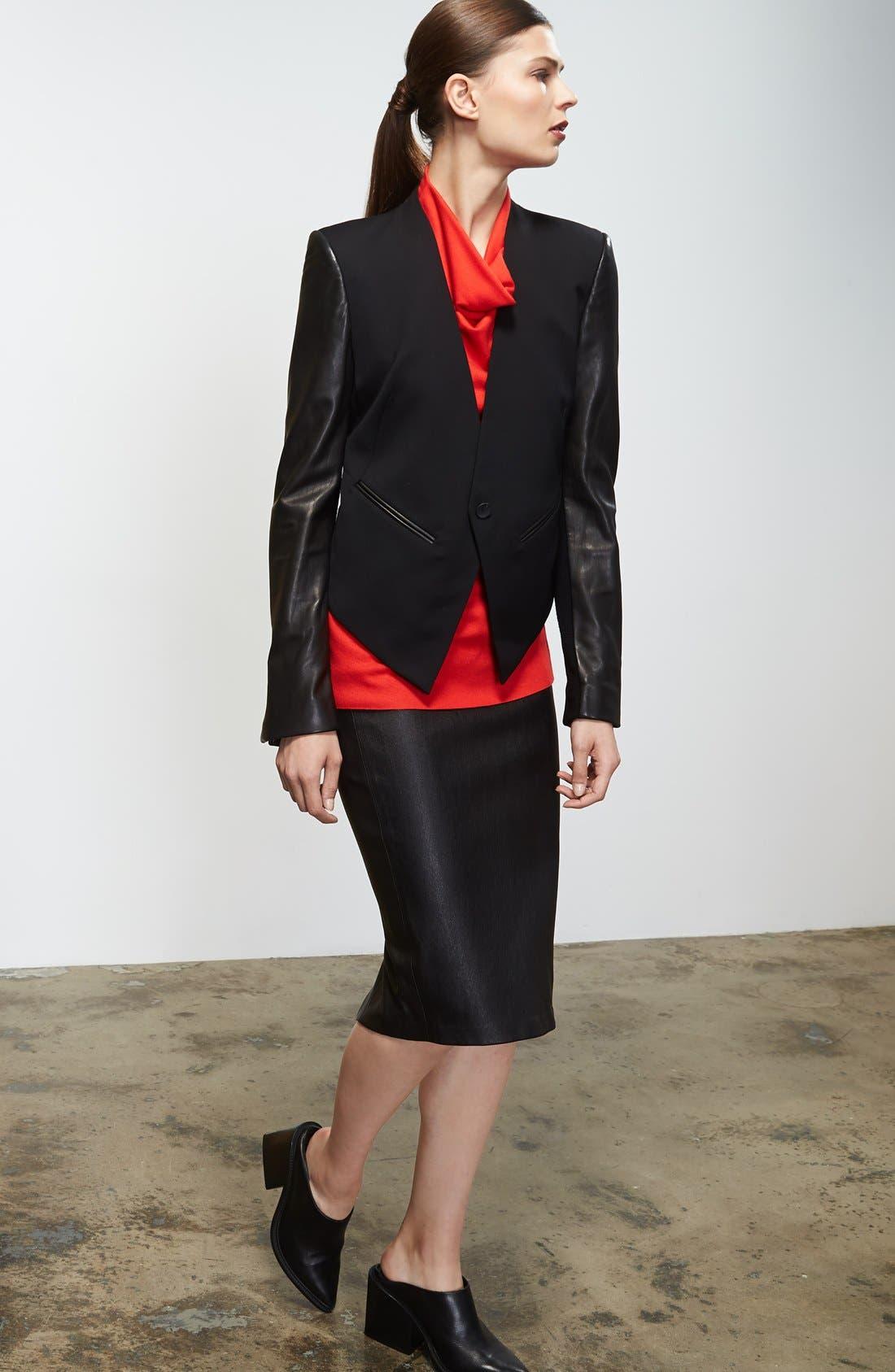 Alternate Image 3  - Helmut Lang 'Smoking' Leather Sleeve Tuxedo Jacket