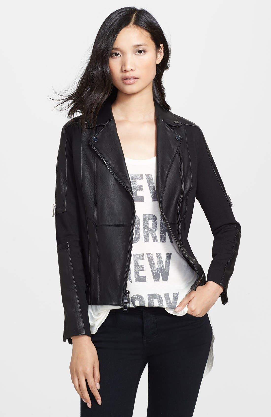 Main Image - Haute Hippie Ponte Knit & Leather Moto Jacket