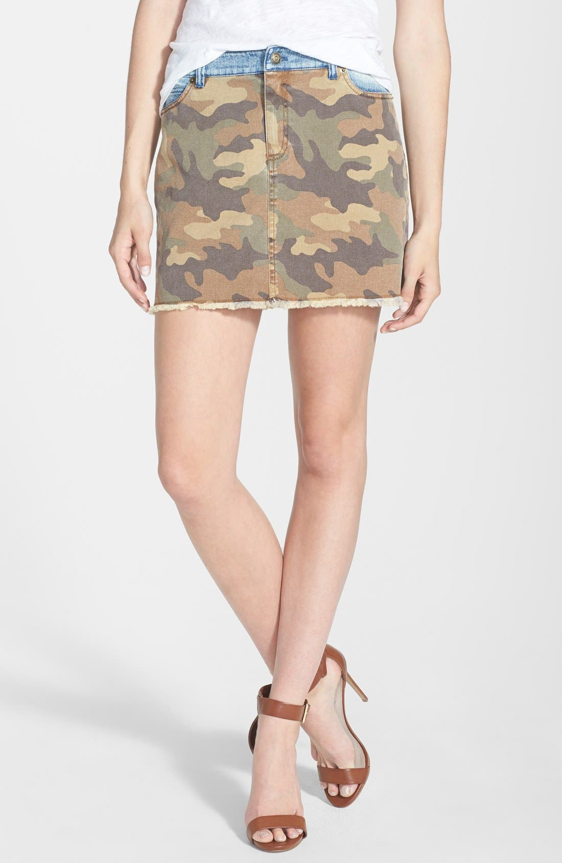 Alternate Image 1 Selected - MICHAEL Michael Kors Camo & Denim Miniskirt