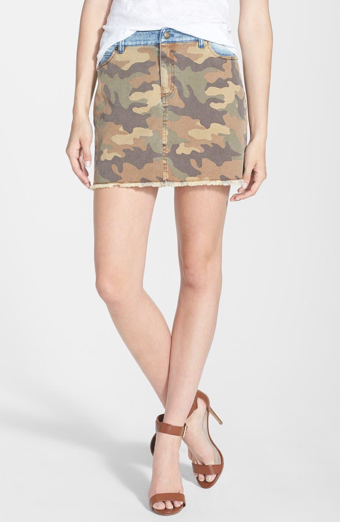 Main Image - MICHAEL Michael Kors Camo & Denim Miniskirt