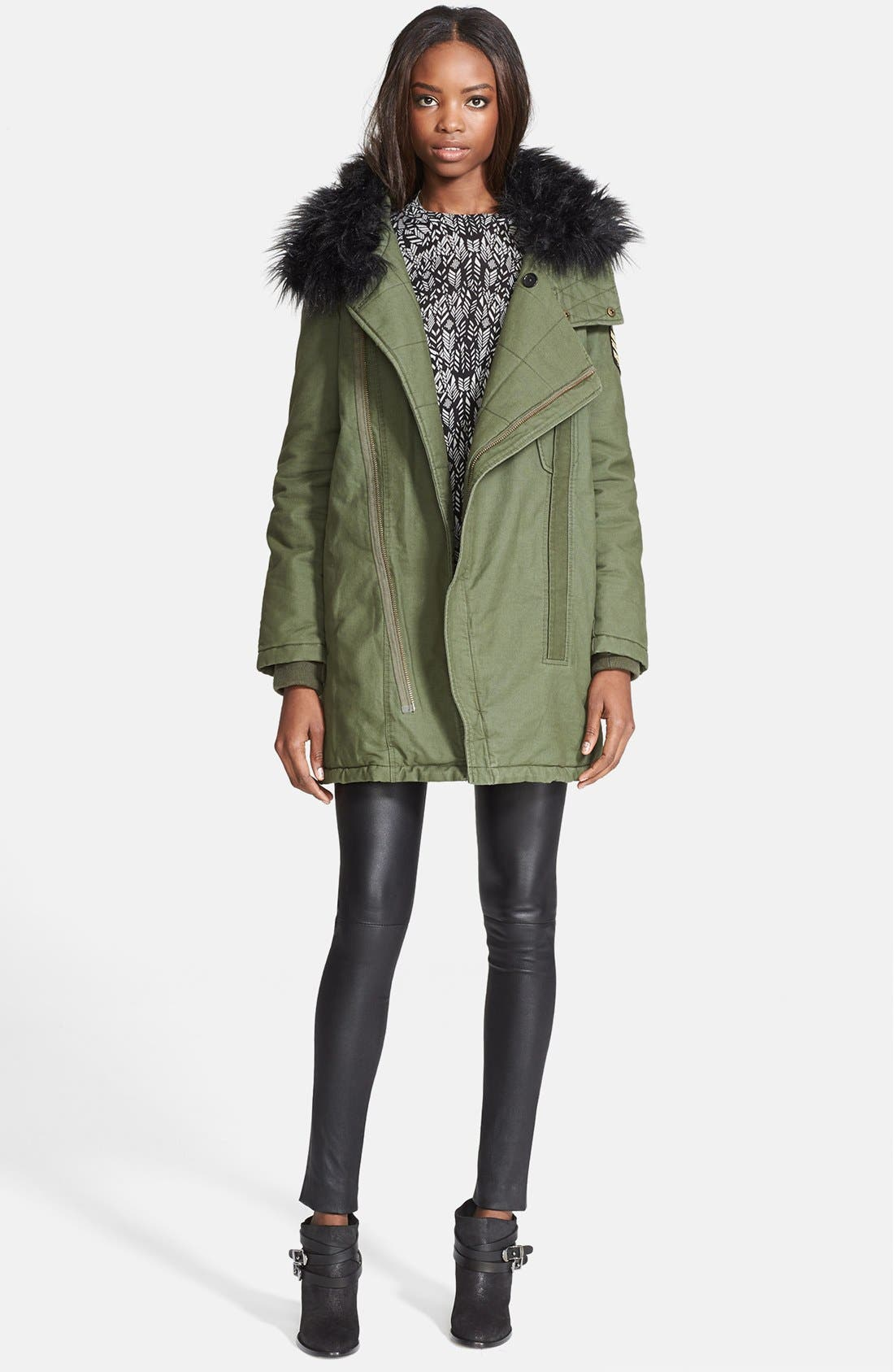 Main Image - Zadig & Voltaire 'Kily' Faux Fur Collar Military Jacket