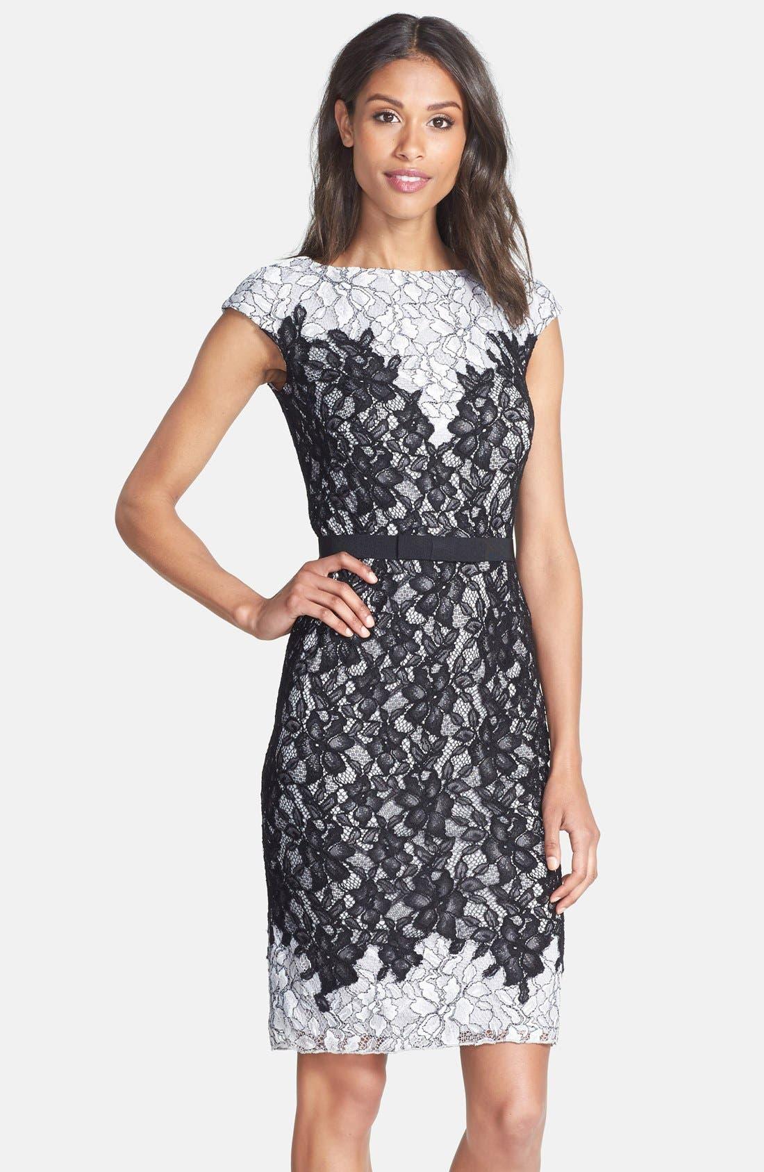 Main Image - Tadashi Shoji Two-Tone Lace Sheath Dress