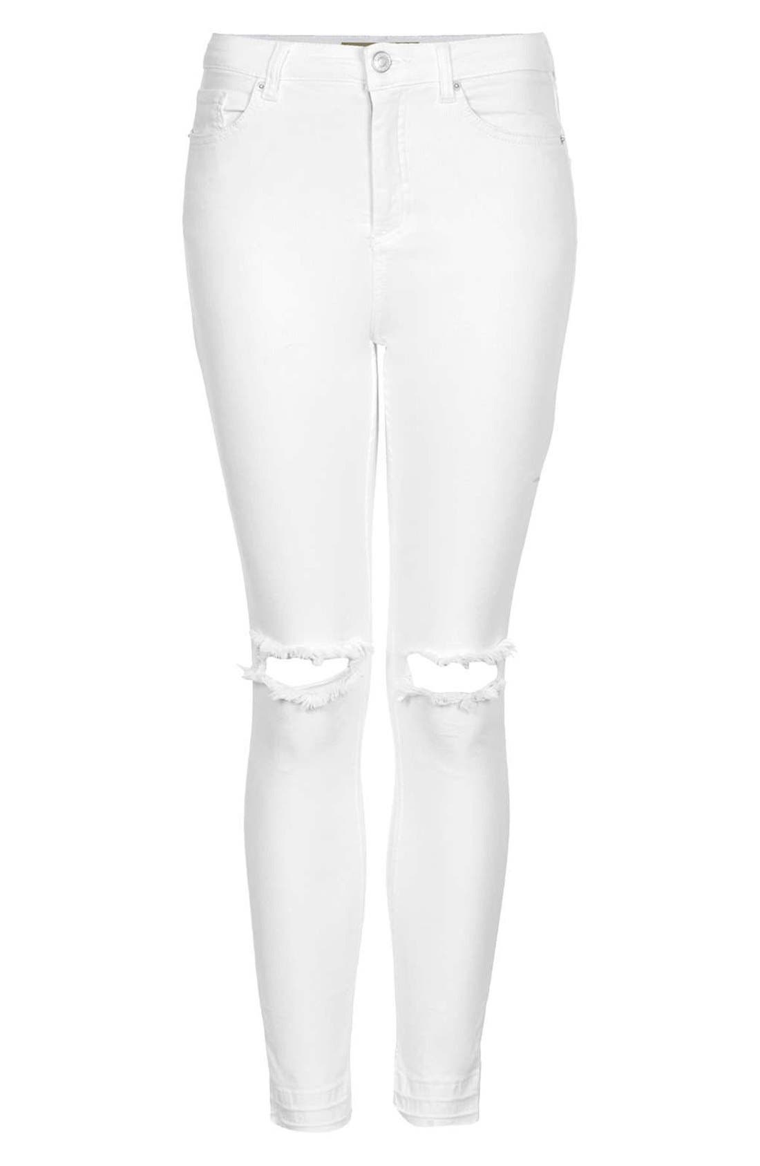 Alternate Image 3  - Topshop Moto 'Jamie' Ripped High Rise Ankle Skinny Jeans (White) (Regular & Short)