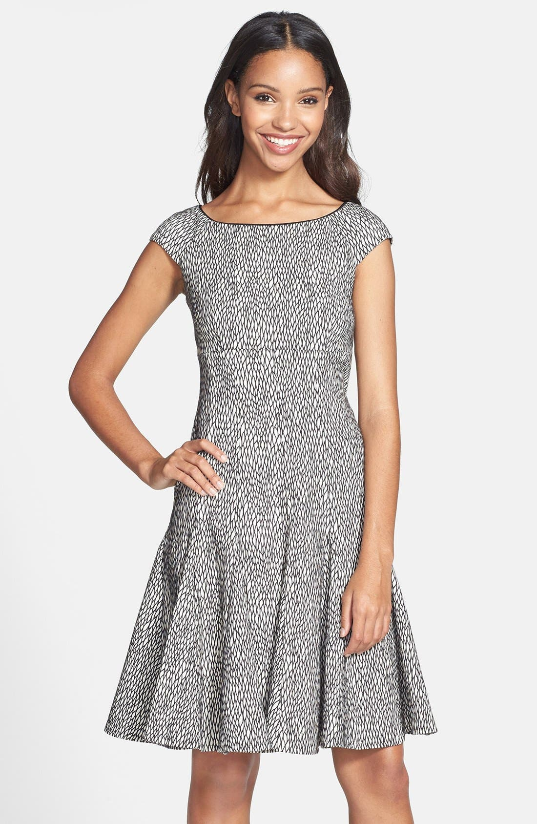 Alternate Image 1 Selected - Gabby Skye Jacquard Fit & Flare Dress