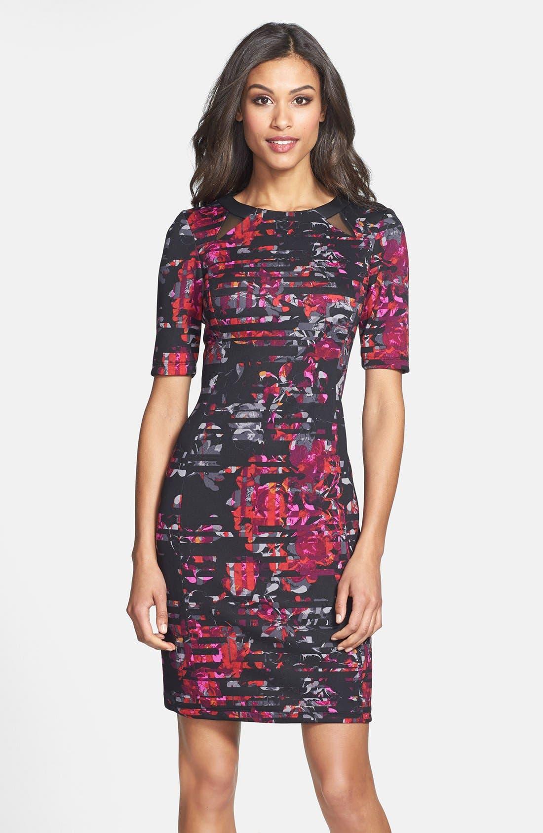 Alternate Image 1 Selected - Taylor Dresses Floral Print Scuba Sheath Dress