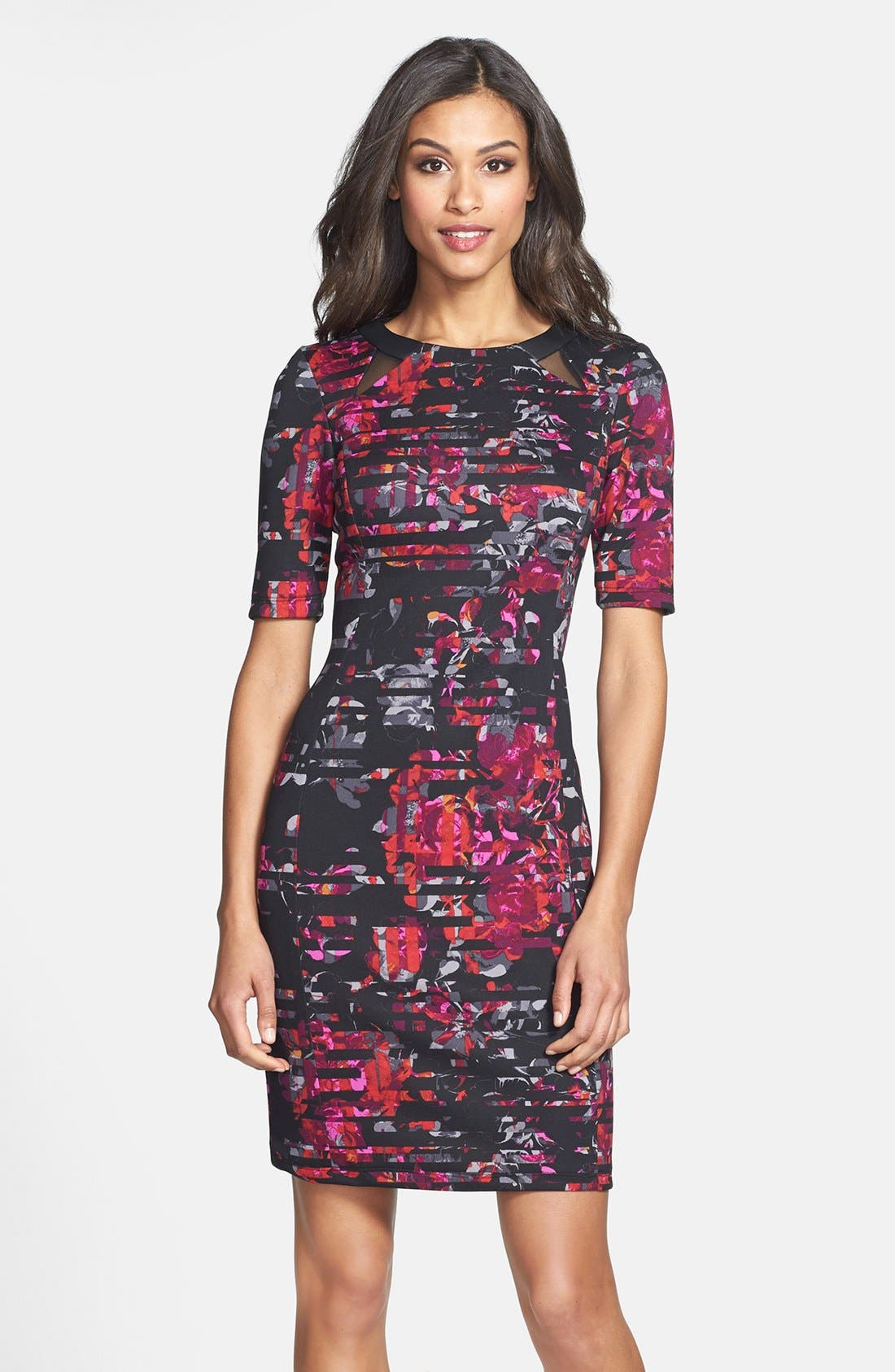 Main Image - Taylor Dresses Floral Print Scuba Sheath Dress