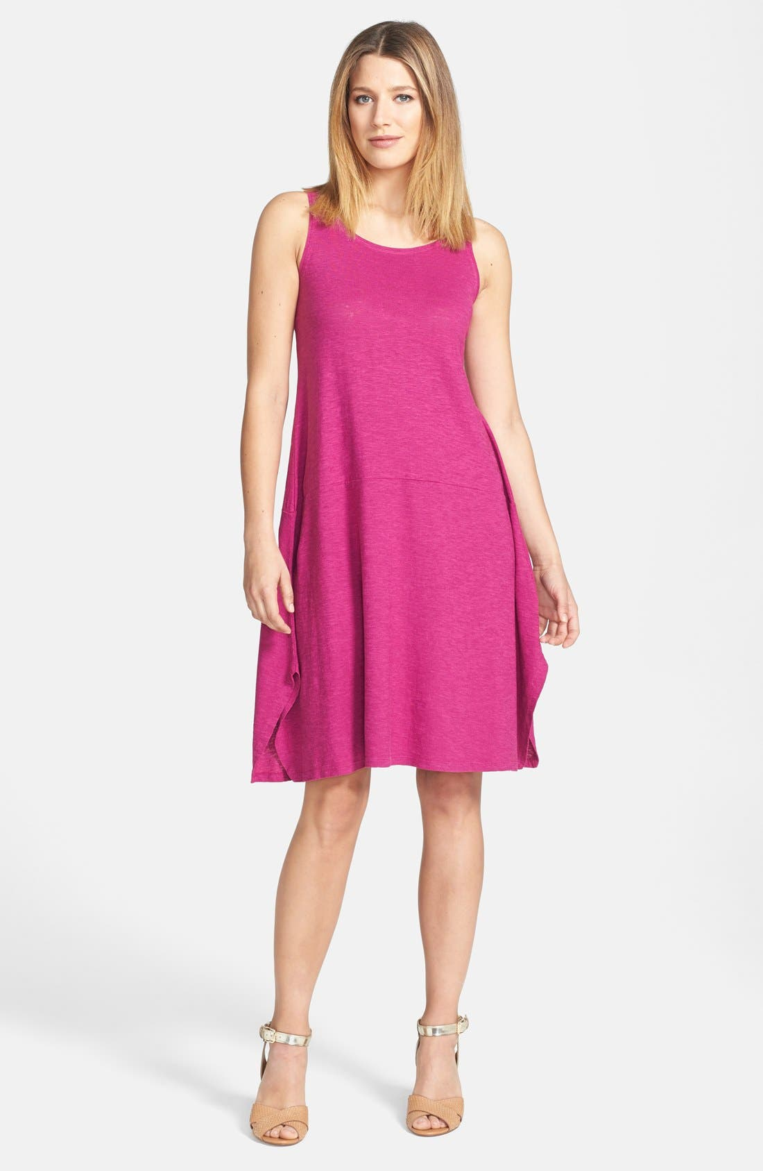 Main Image - Eileen Fisher Scoop Neck Hemp & Organic Cotton Knit Dress (Petite)