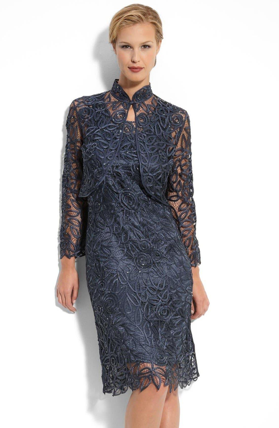 Main Image - Soulmates Crochet Silk Dress & Jacket