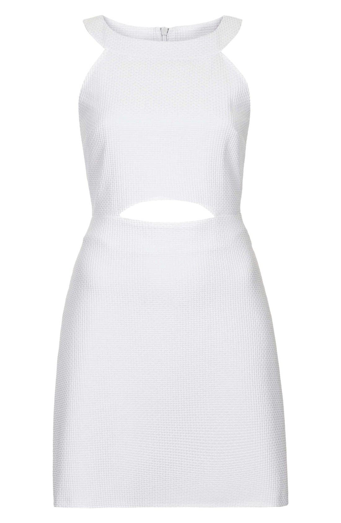 Alternate Image 3  - Topshop Cutout Textured Skater Dress