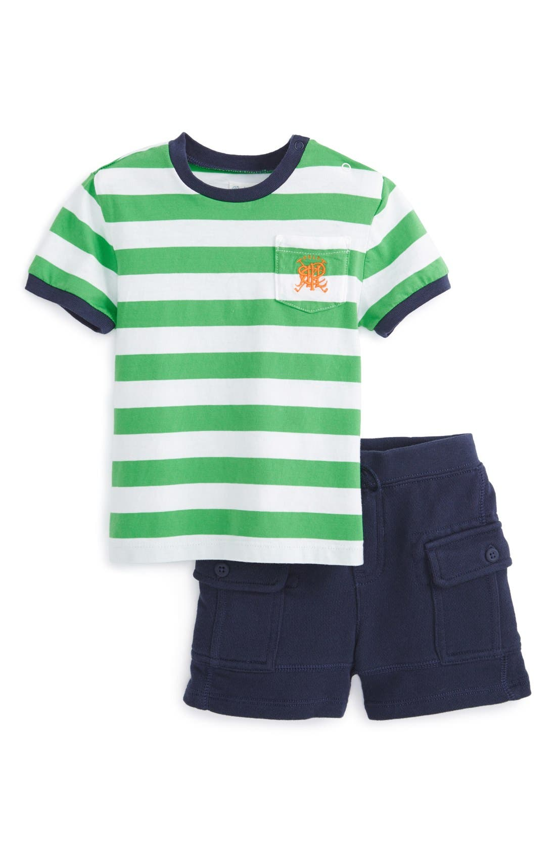 Alternate Image 1 Selected - Ralph Lauren Cotton Jersey T-Shirt & Cargo Shorts (Baby Boys)