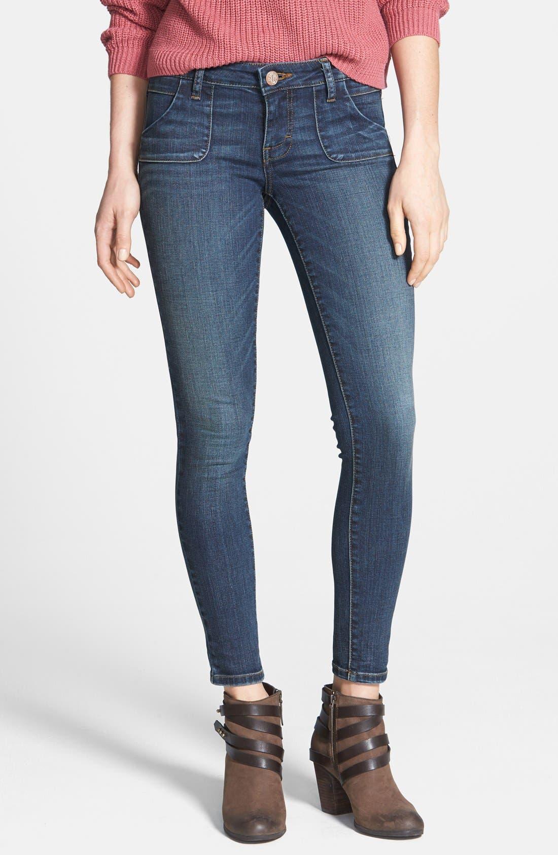 Alternate Image 1 Selected - STS Blue Porkchop Pocket Skinny Jeans (Dark) (Juniors)