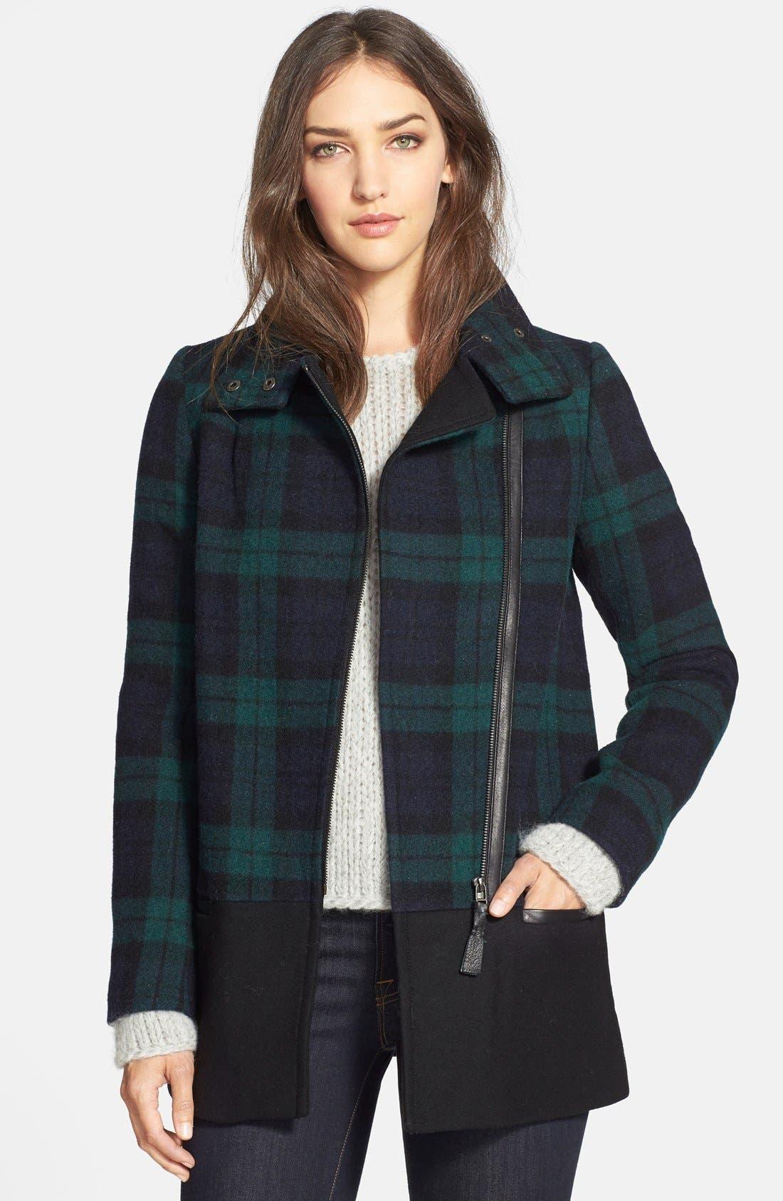 Main Image - Mackage 'Berta' Asymmetrical Wool Blend Plaid Coat