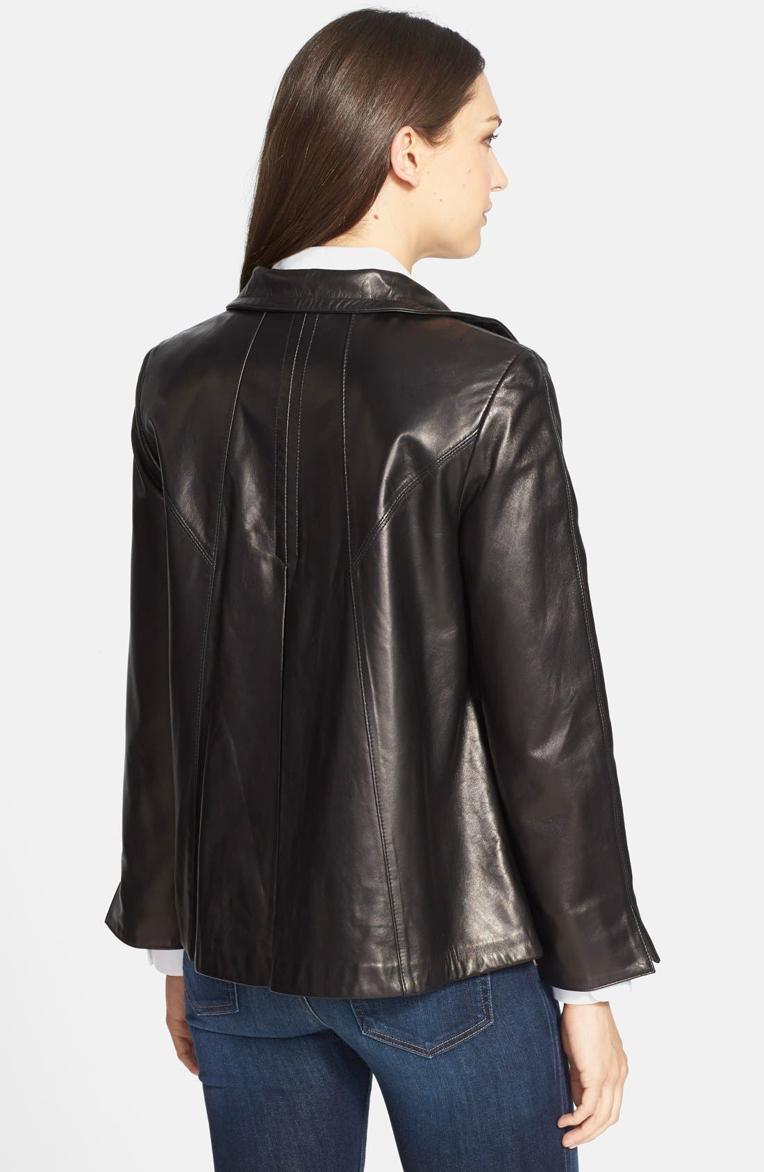 Alternate Image 2  - Ellen Tracy A-Line Lambskin Leather Jacket