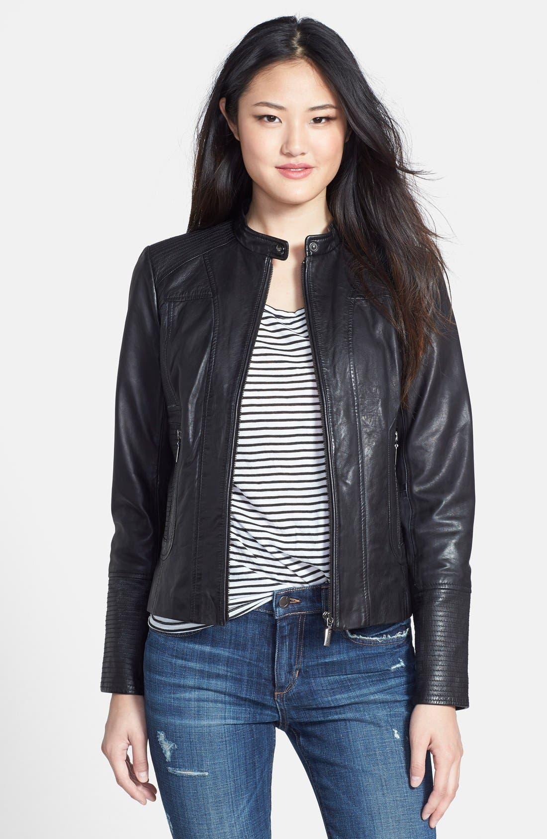 Alternate Image 1 Selected - Bernardo Leather Scuba Jacket (Regular & Petite)