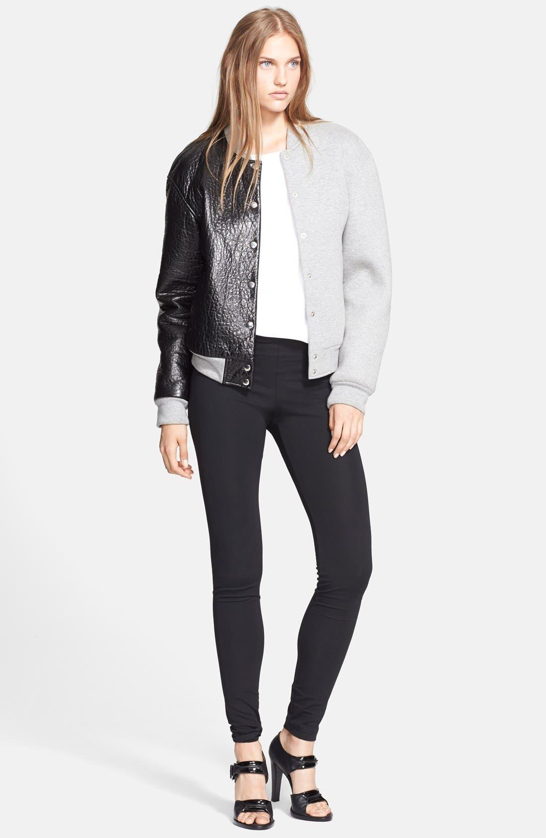 Alternate Image 3  - T by Alexander Wang Leather & Neoprene Varsity Jacket