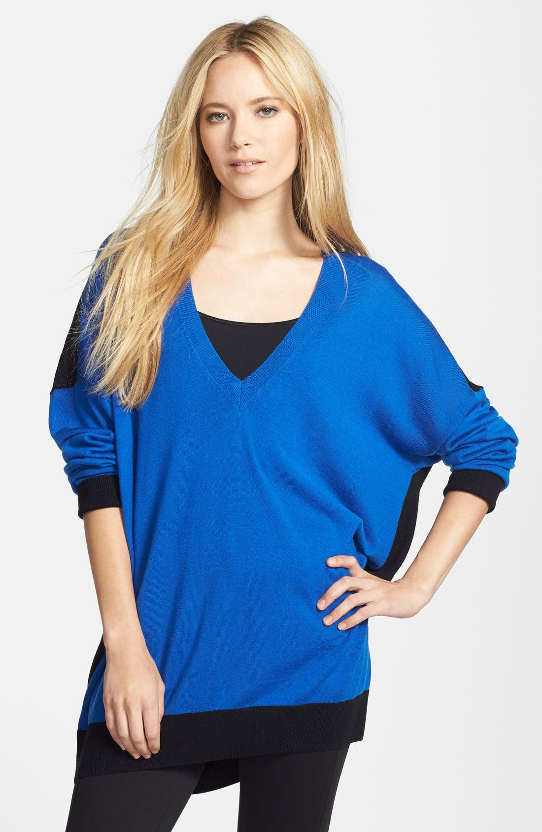 Alternate Image 1 Selected - MICHAEL Michael Kors Colorblock Merino V-Neck Sweater