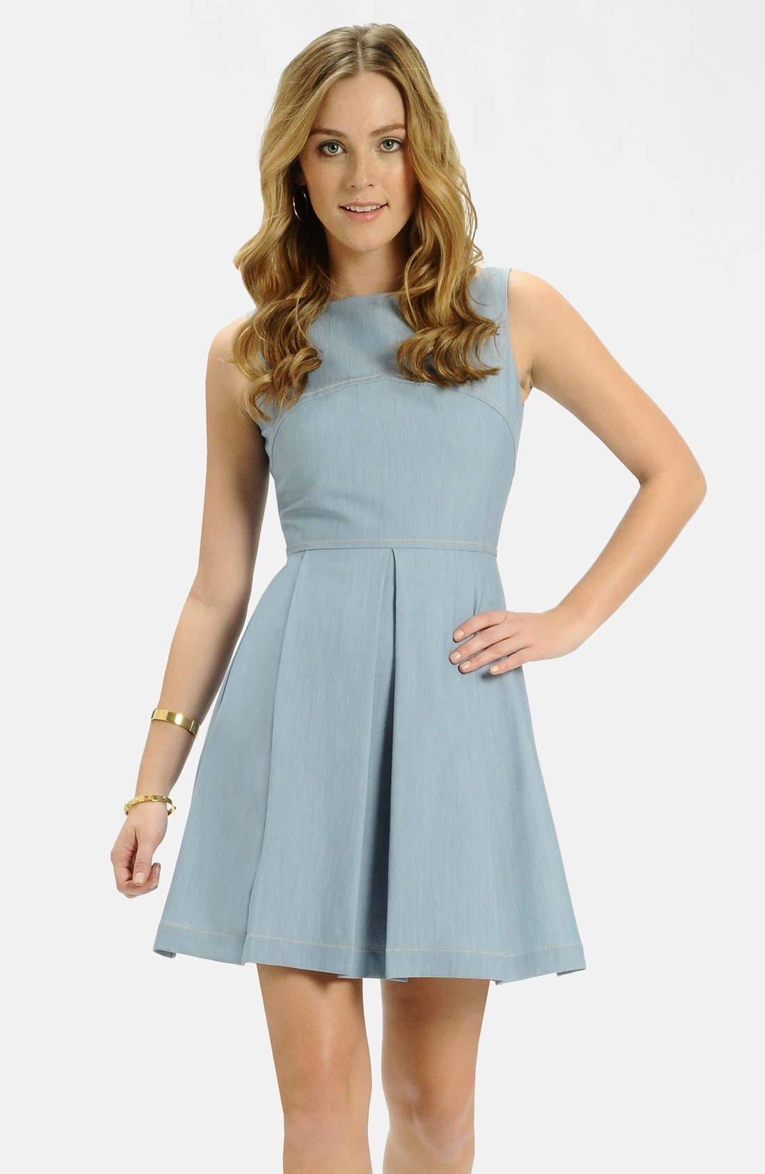 Alternate Image 1 Selected - LABEL by five twelve Chambray Fit & Flare Dress
