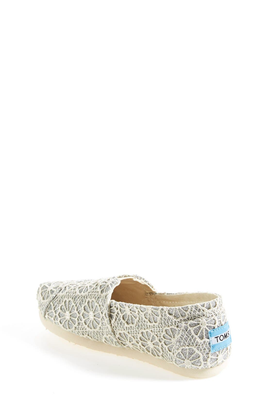 Alternate Image 2  - TOMS 'Youth - Glitter' Crochet Slip-On (Toddler, Little Kid & Big Kid)