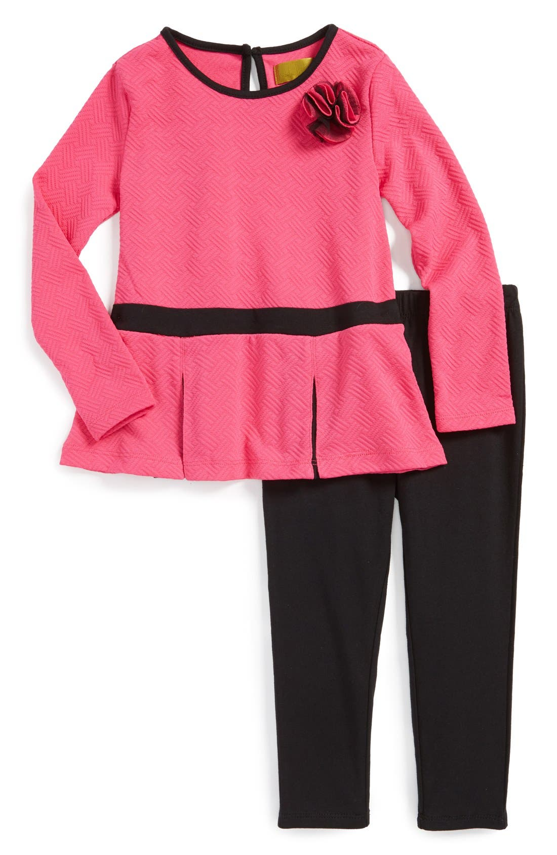 Alternate Image 1 Selected - Nicole Miller Colorblock Tunic & Leggings (Little Girls) (Online Only)
