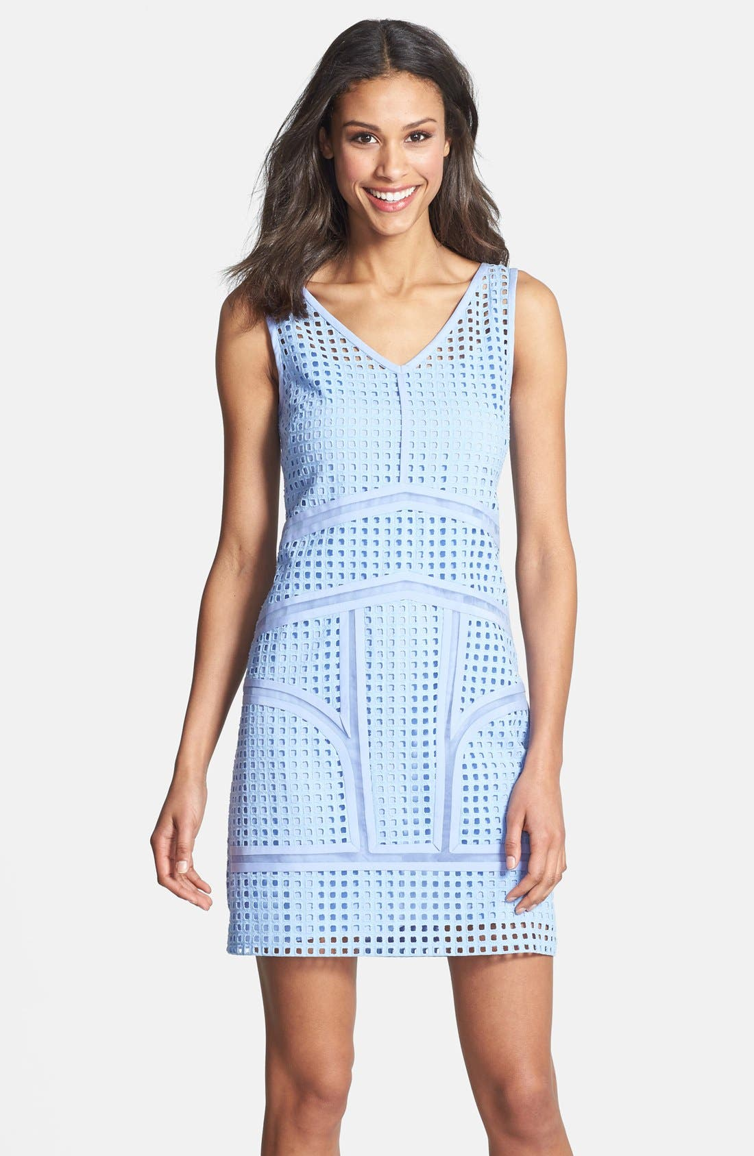 Alternate Image 1 Selected - Ivy & Blu Inset Organza Trim Cotton Eyelet Shift Dress