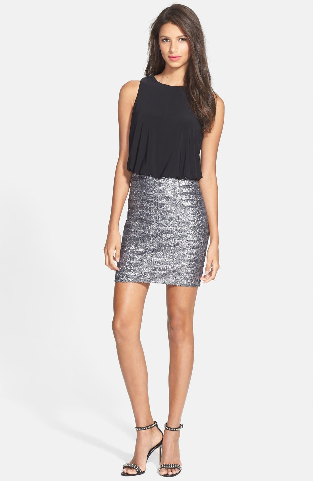 Alternate Image 3  - Aidan by Aidan Mattox Cutout Sequin Blouson Dress