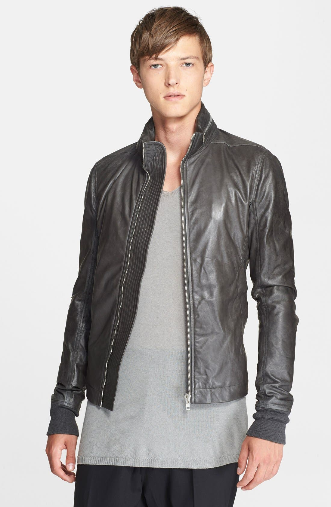 Rick Owens 'Sternberg' Leather Jacket with Stowaway Hood