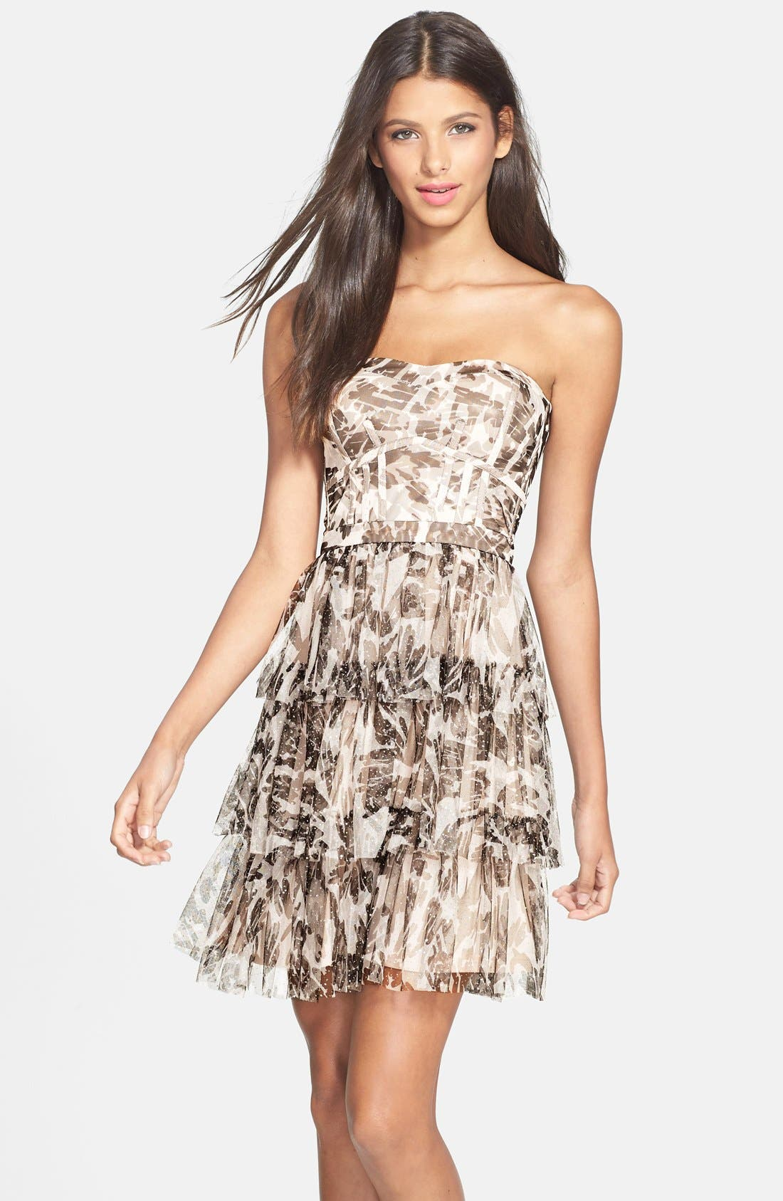 Main Image - Hailey by Adrianna Papell Glitter Camo Print Tiered Dress