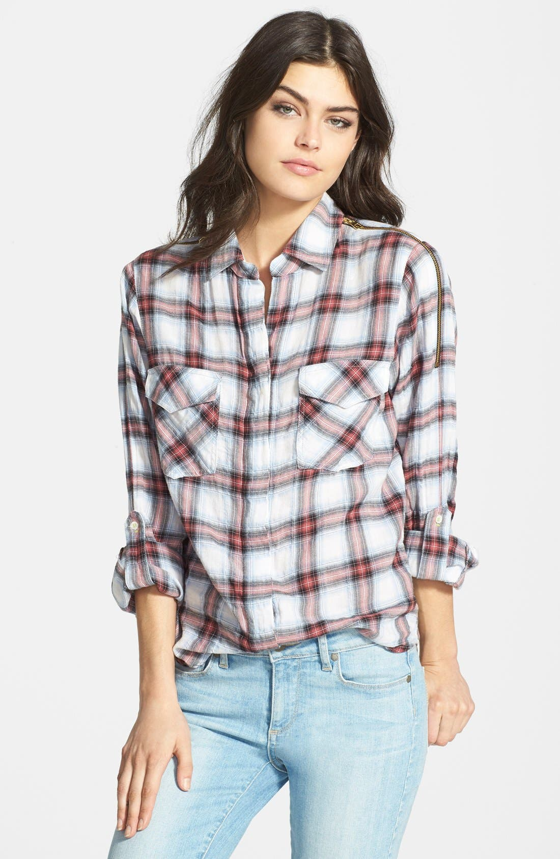 Alternate Image 1 Selected - Sam Edelman Zip Shoulder Plaid Shirt