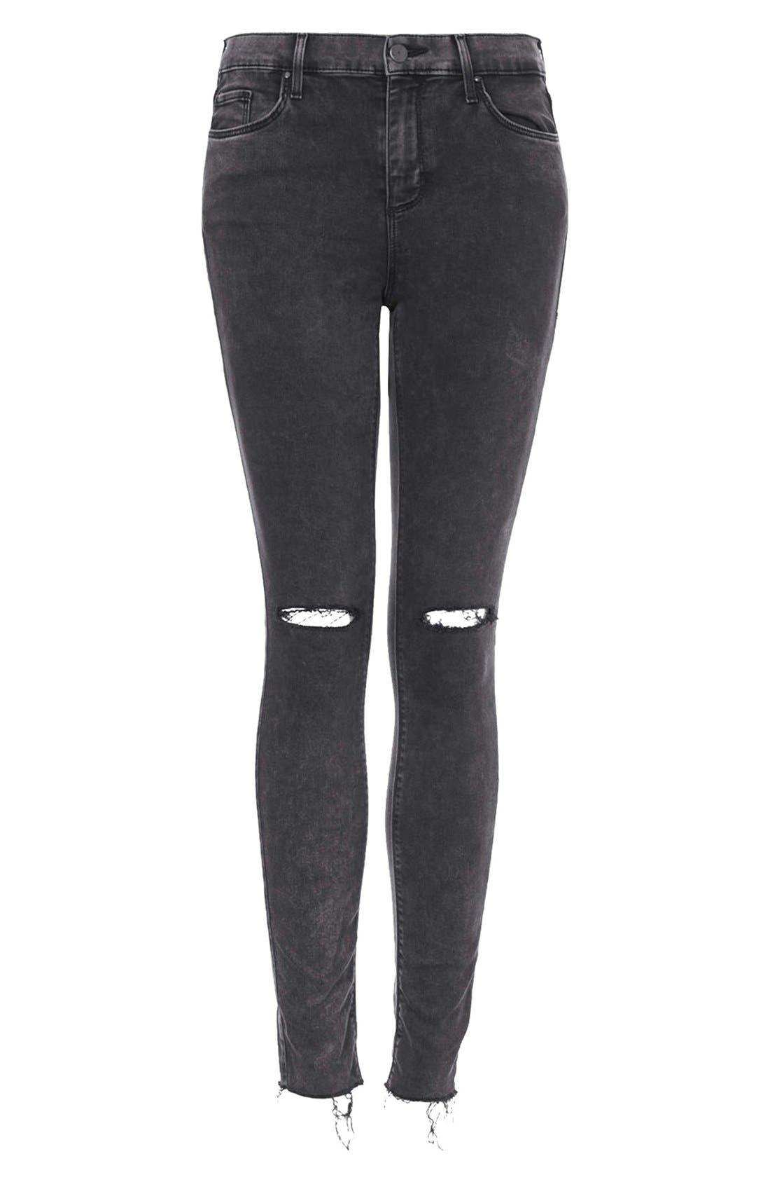 Alternate Image 3  - Topshop Moto 'Leigh' Distressed Skinny Jeans (Black)