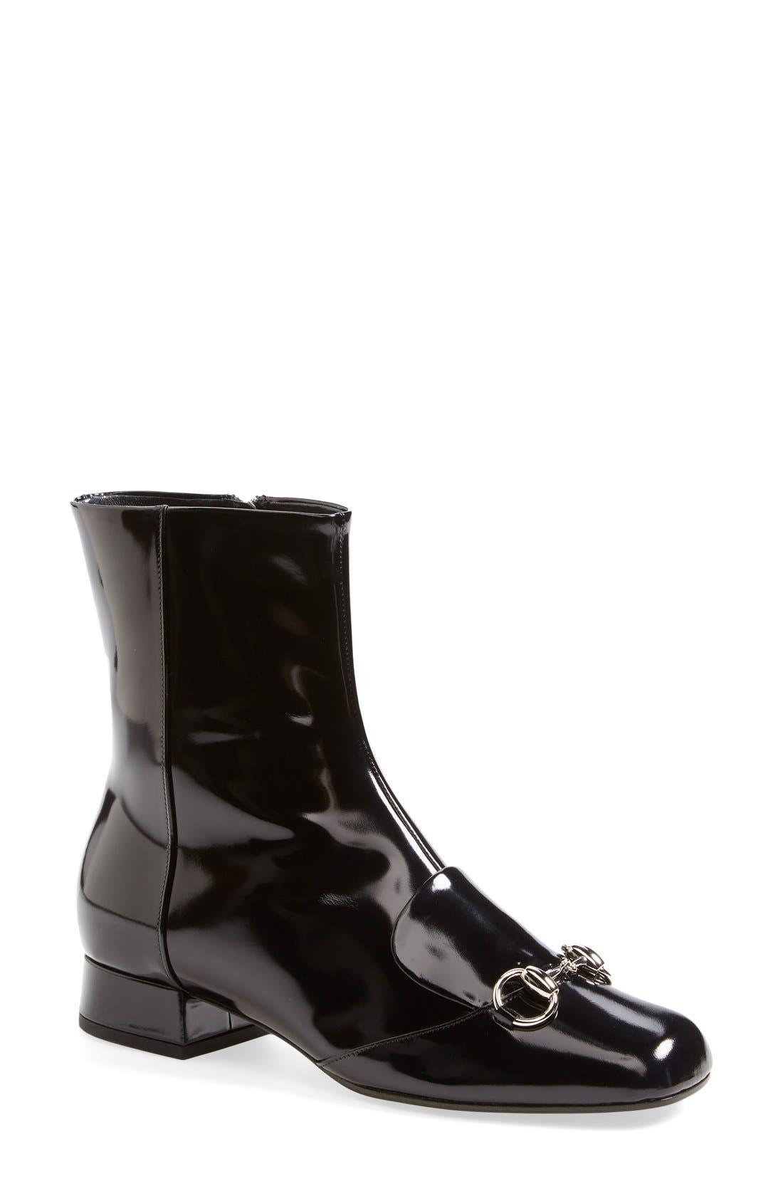 Alternate Image 1 Selected - Gucci 'Lillian' Horsebit Ankle Bootie (Women)