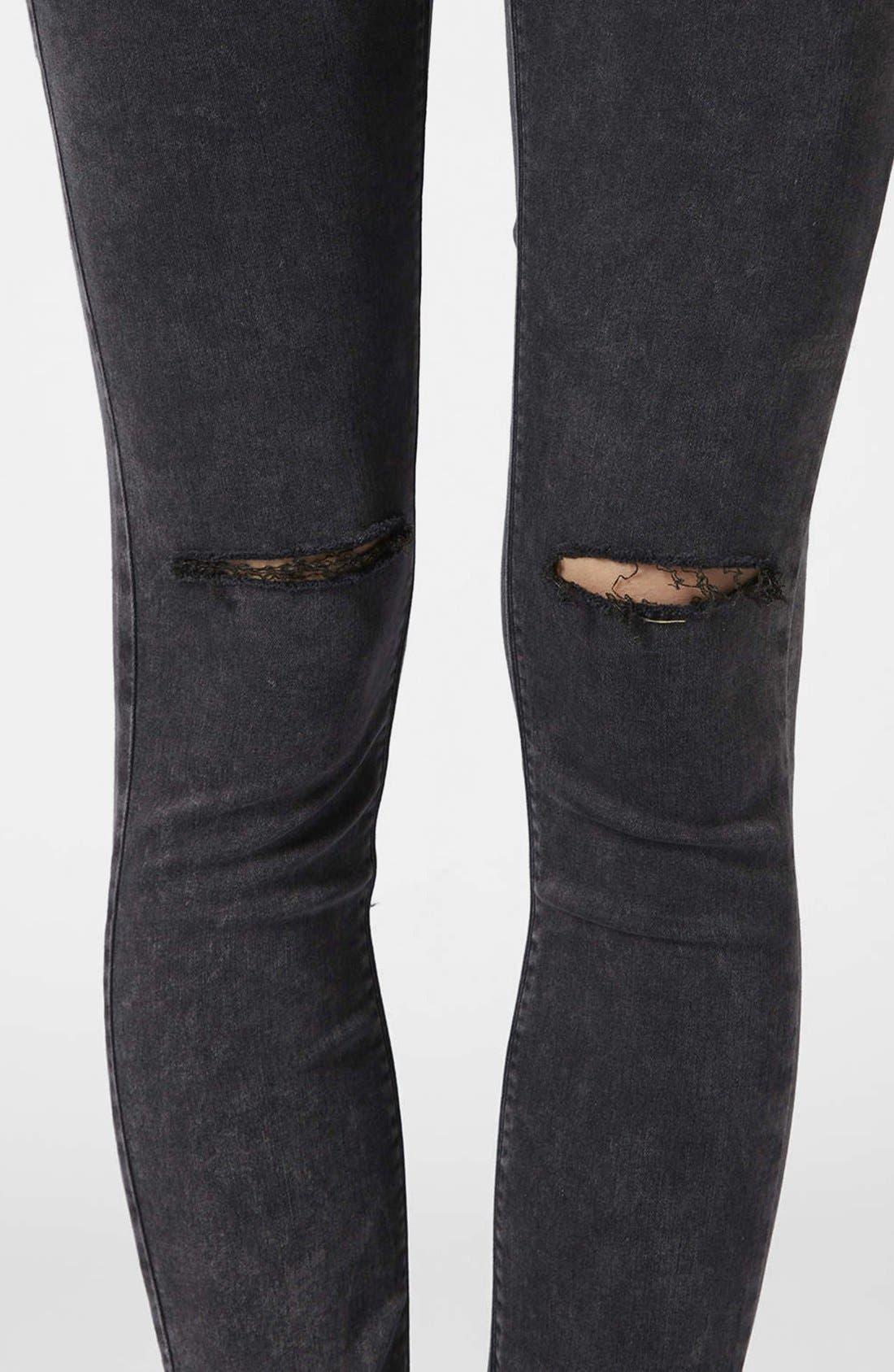 Alternate Image 4  - Topshop Moto 'Leigh' Distressed Skinny Jeans (Black)