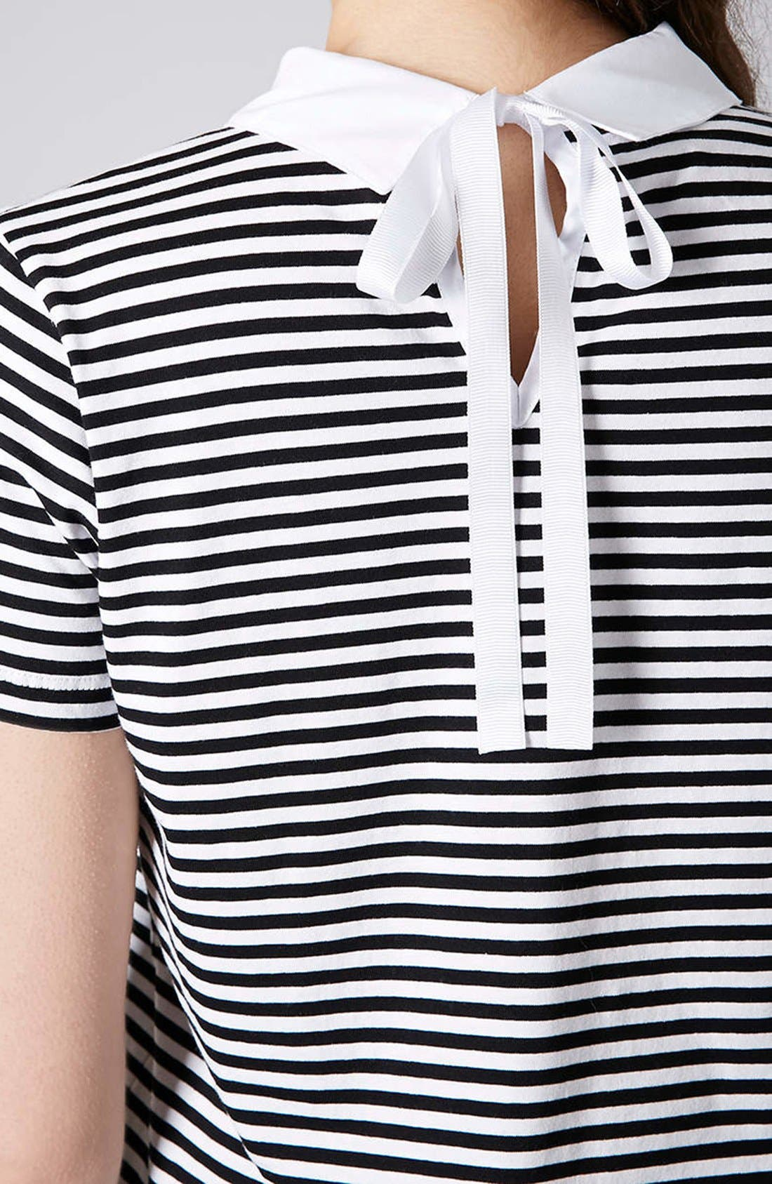Alternate Image 4  - Topshop Stripe Print Collared Tee