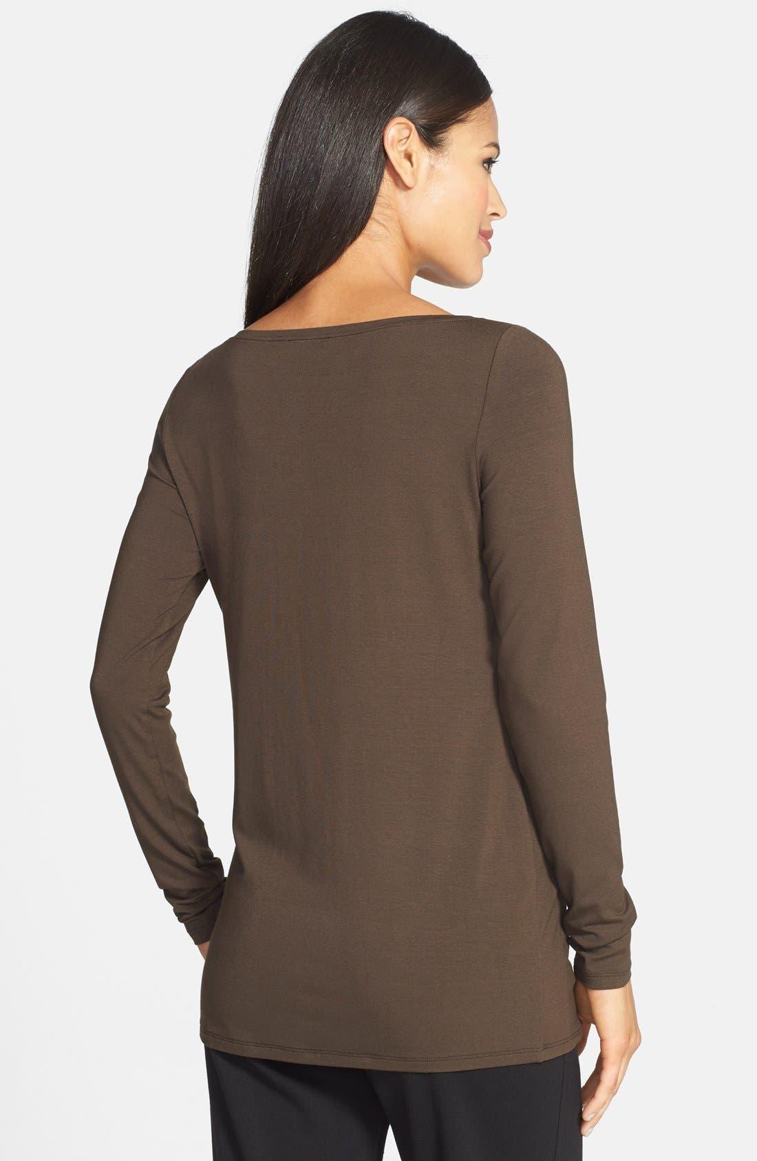 Alternate Image 2  - Eileen Fisher Bateau Neck Slim Jersey Top (Regular & Petite)