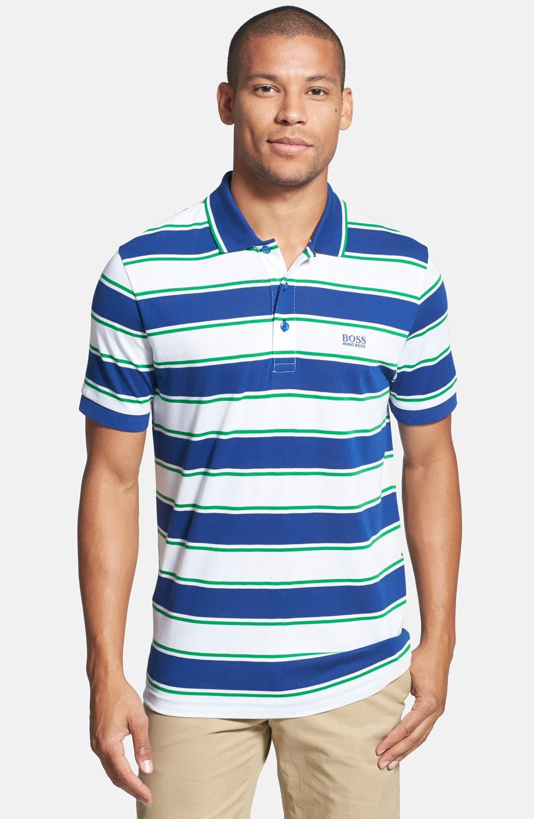 Alternate Image 1 Selected - BOSS Green 'Paddy 1' Trim Fit Stripe Mesh Cotton Polo