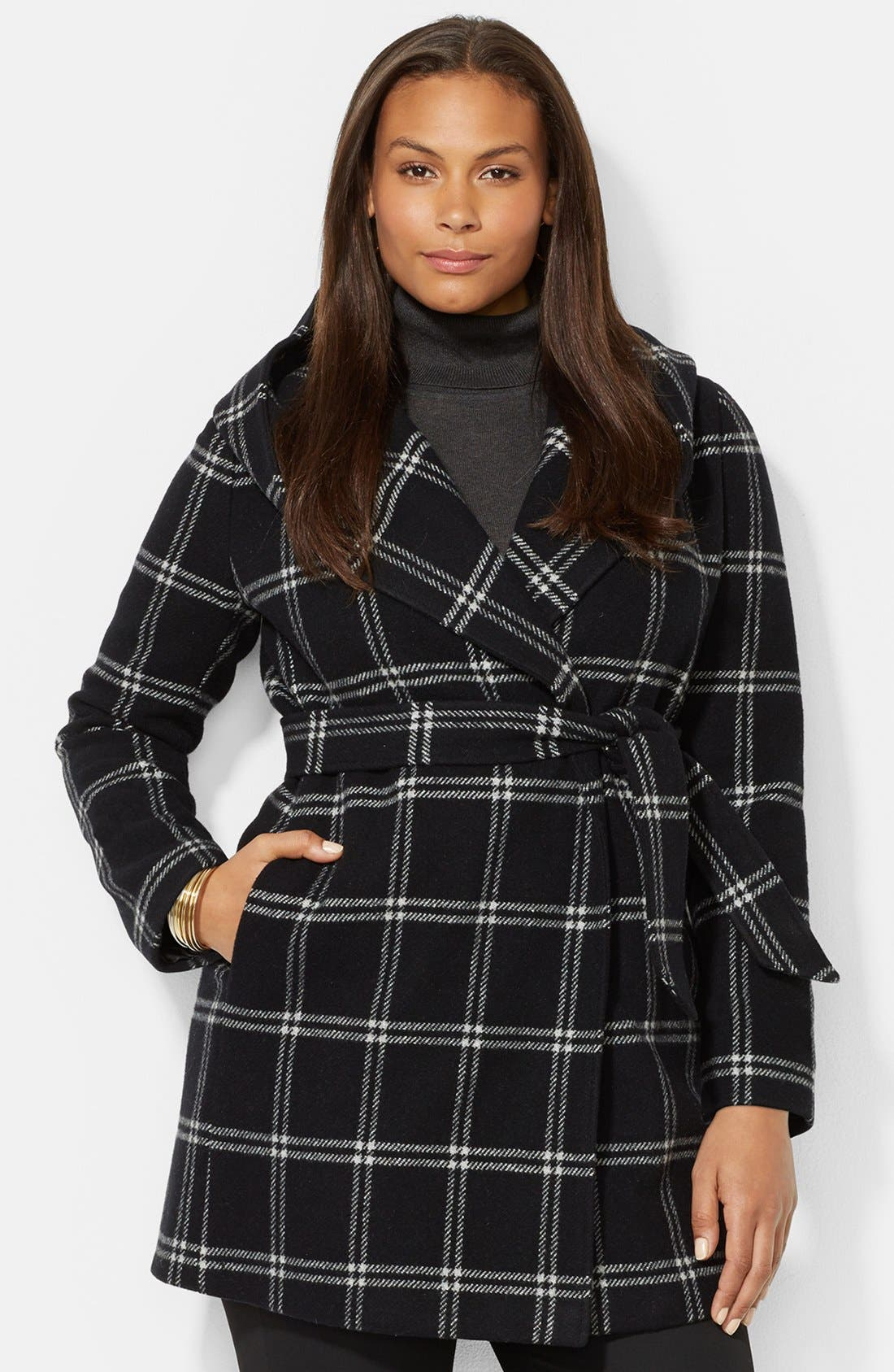 Alternate Image 1 Selected - Lauren Ralph Lauren Windowpane Plaid Hooded Wrap Coat (Plus Size)