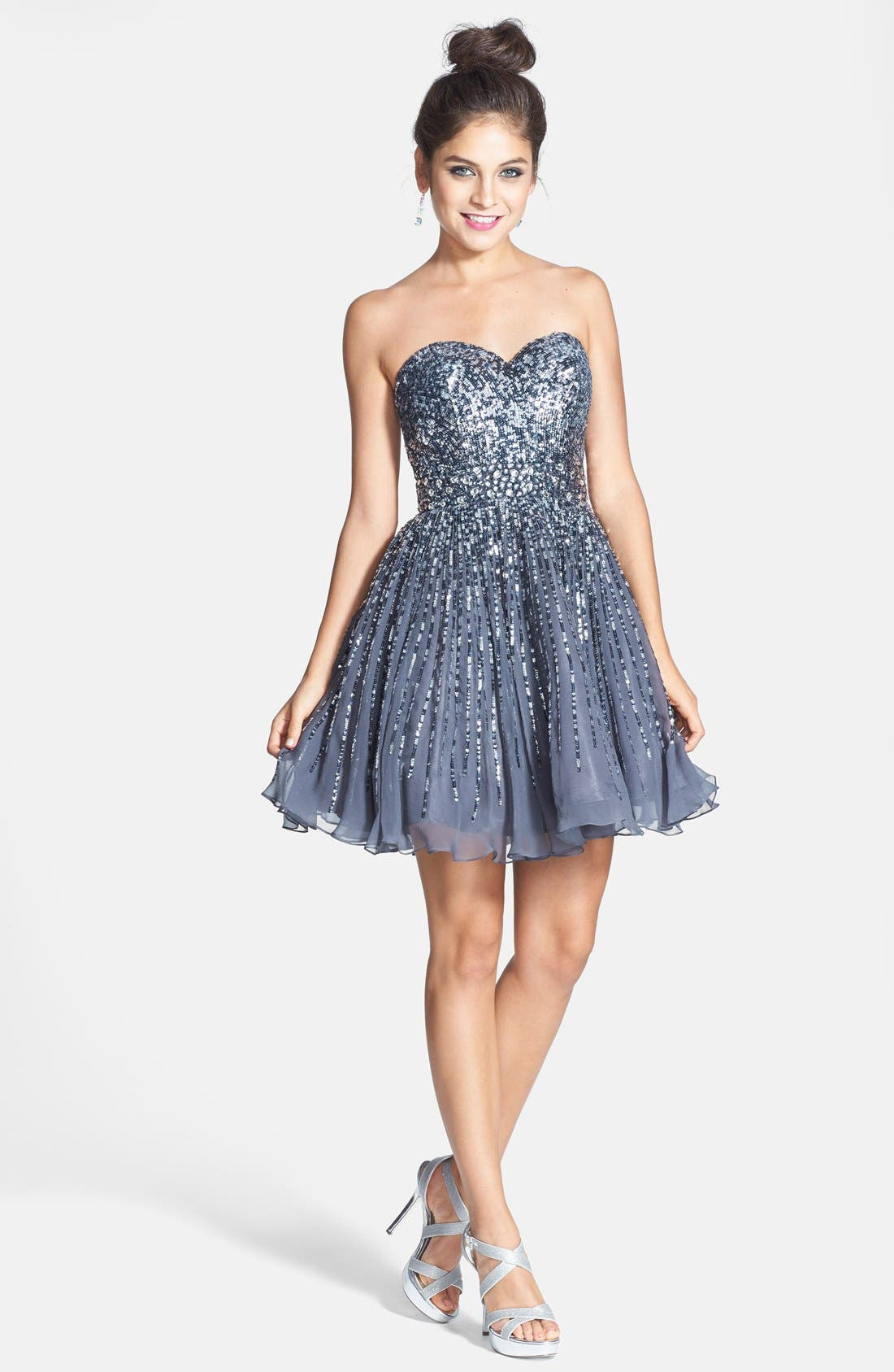 Alternate Image 3  - Sherri Hill Embellished Silk Fit & Flare Dress