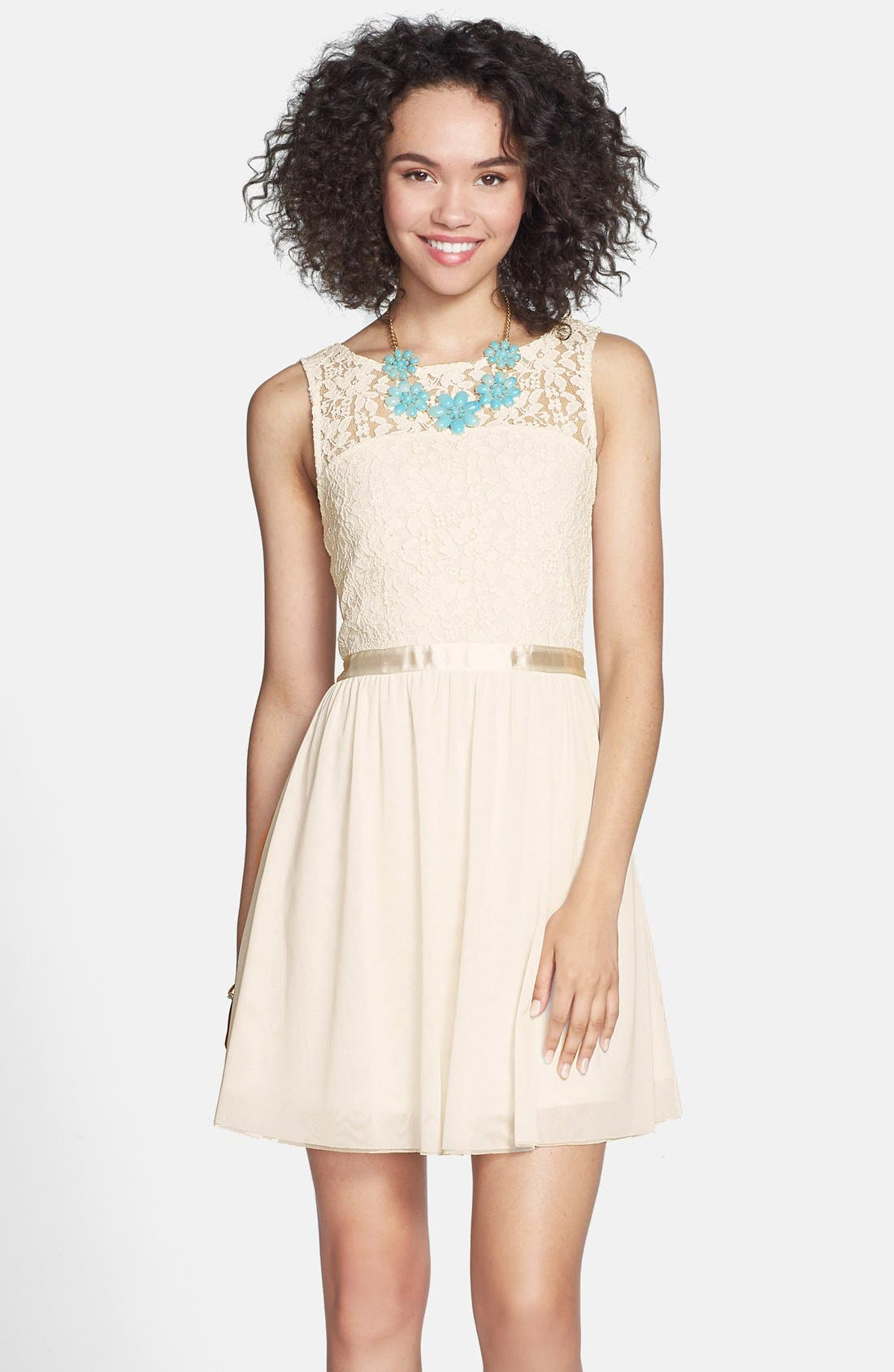 Alternate Image 1 Selected - Frenchi® Lace Bodice Dress (Juniors)