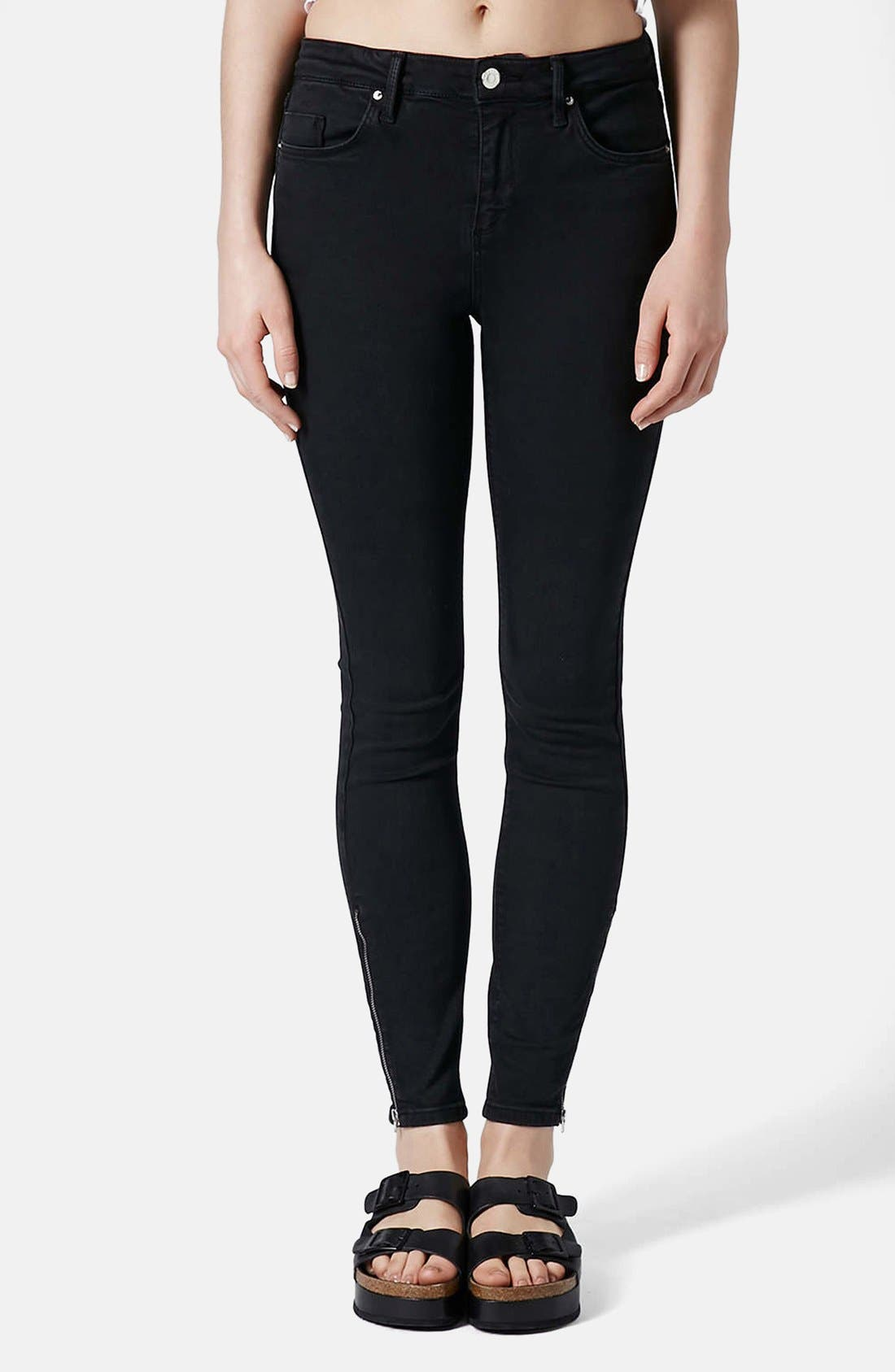 Alternate Image 1 Selected - Topshop 'Jamie' Zip Ankle Jeans