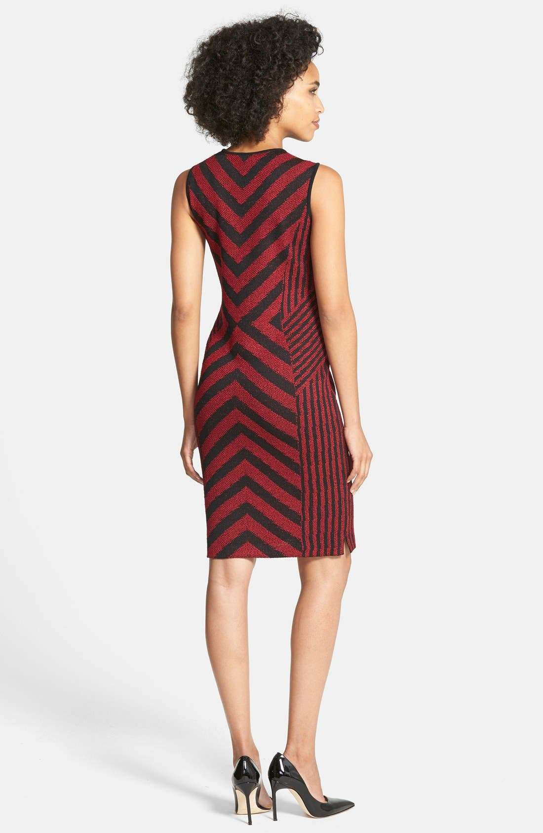 Alternate Image 2  - Ming Wang Chevron Stripe Knit Tank Dress