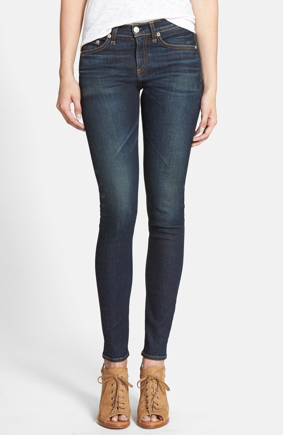 Main Image - rag & bone/JEAN High Rise Skinny Stretch Jeans (Chaucer)