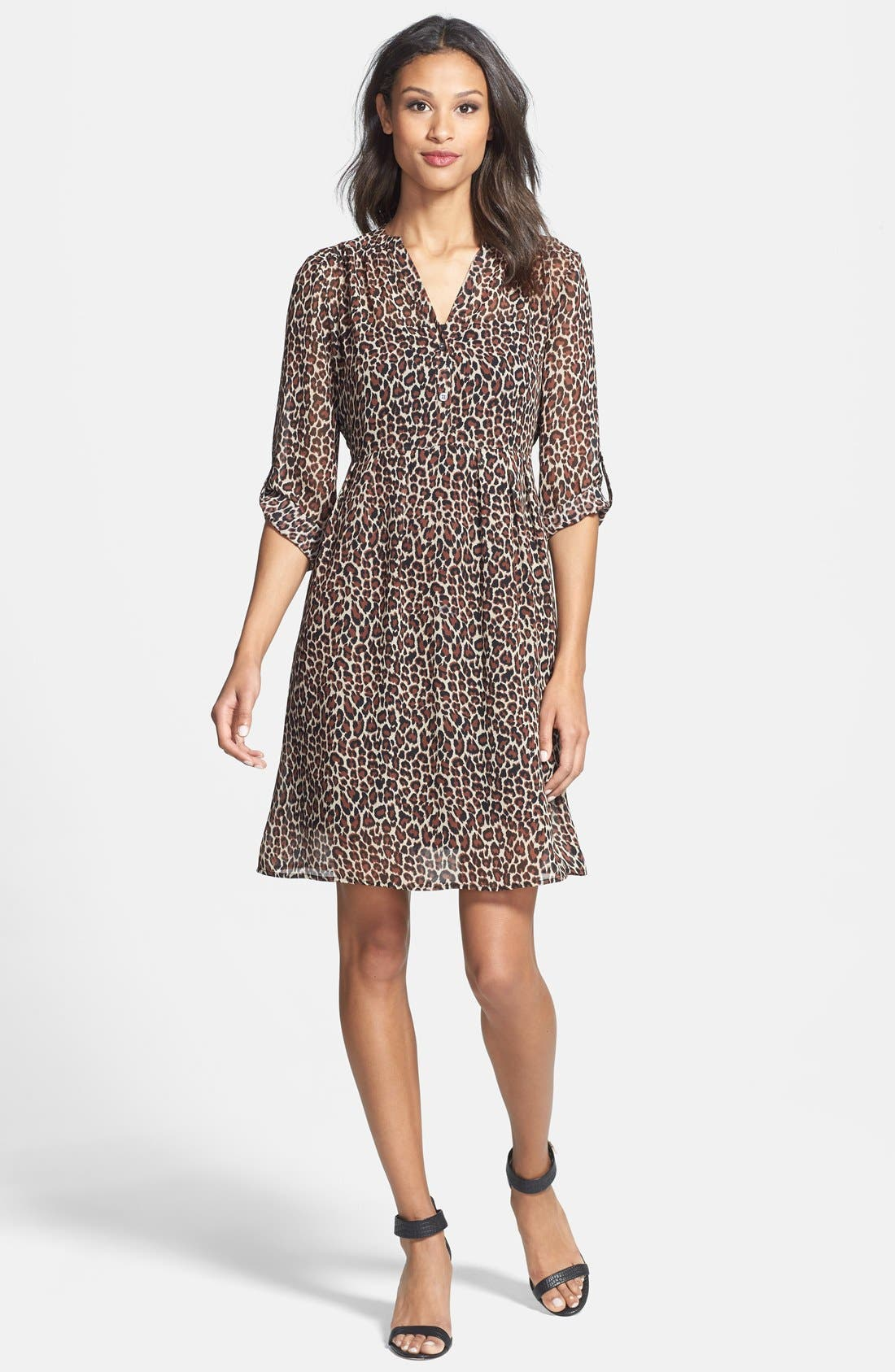Main Image - Two by Vince Camuto Split Neck Leopard Print Shirtdress (Regular & Petite)