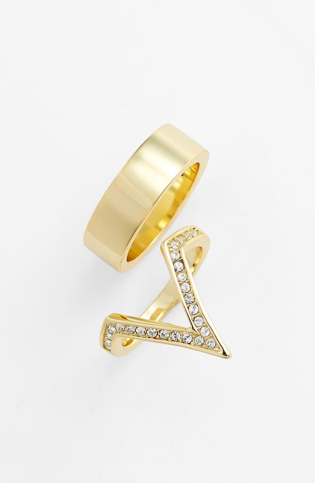 Main Image - Ariella Collection Pavé V Ring & Band Ring (Set of 2)