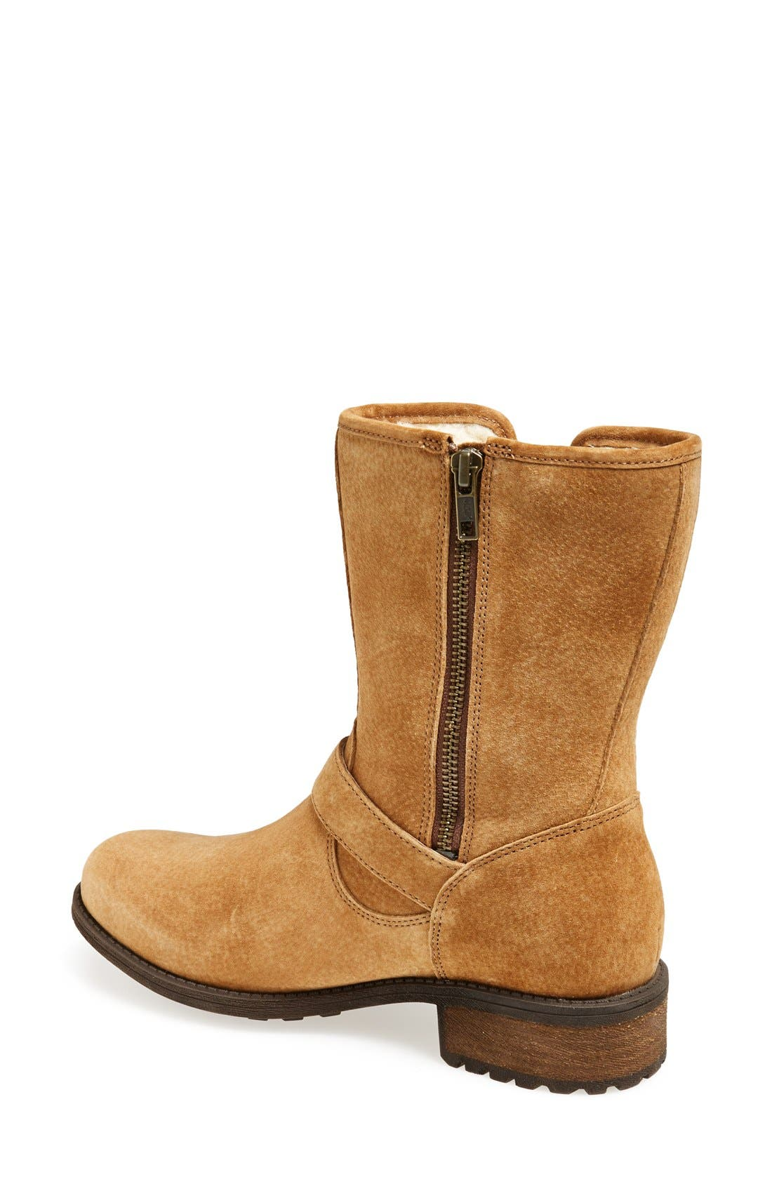 Alternate Image 2  - UGG® 'Chaney' Water Resistant Suede Moto Boot (Women)