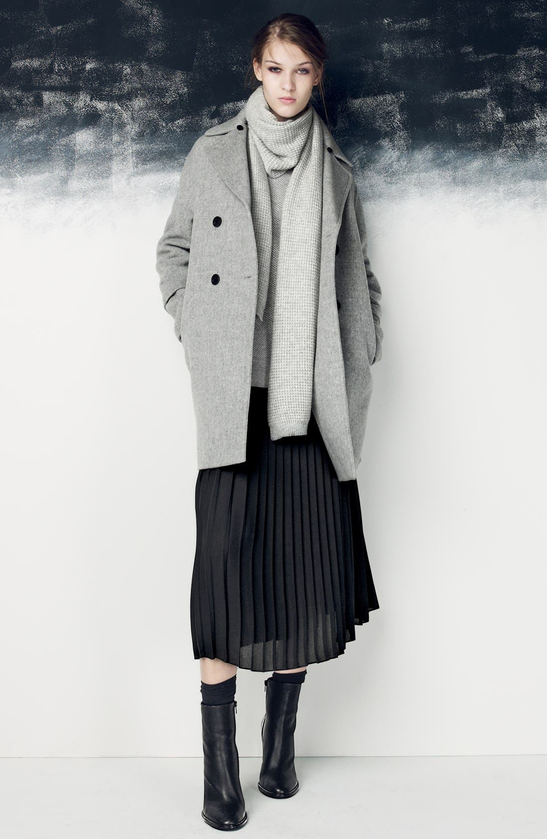 Alternate Image 5  - Vince Peacoat with Removable Genuine Coyote Fur Collar (Nordstrom Exclusive)