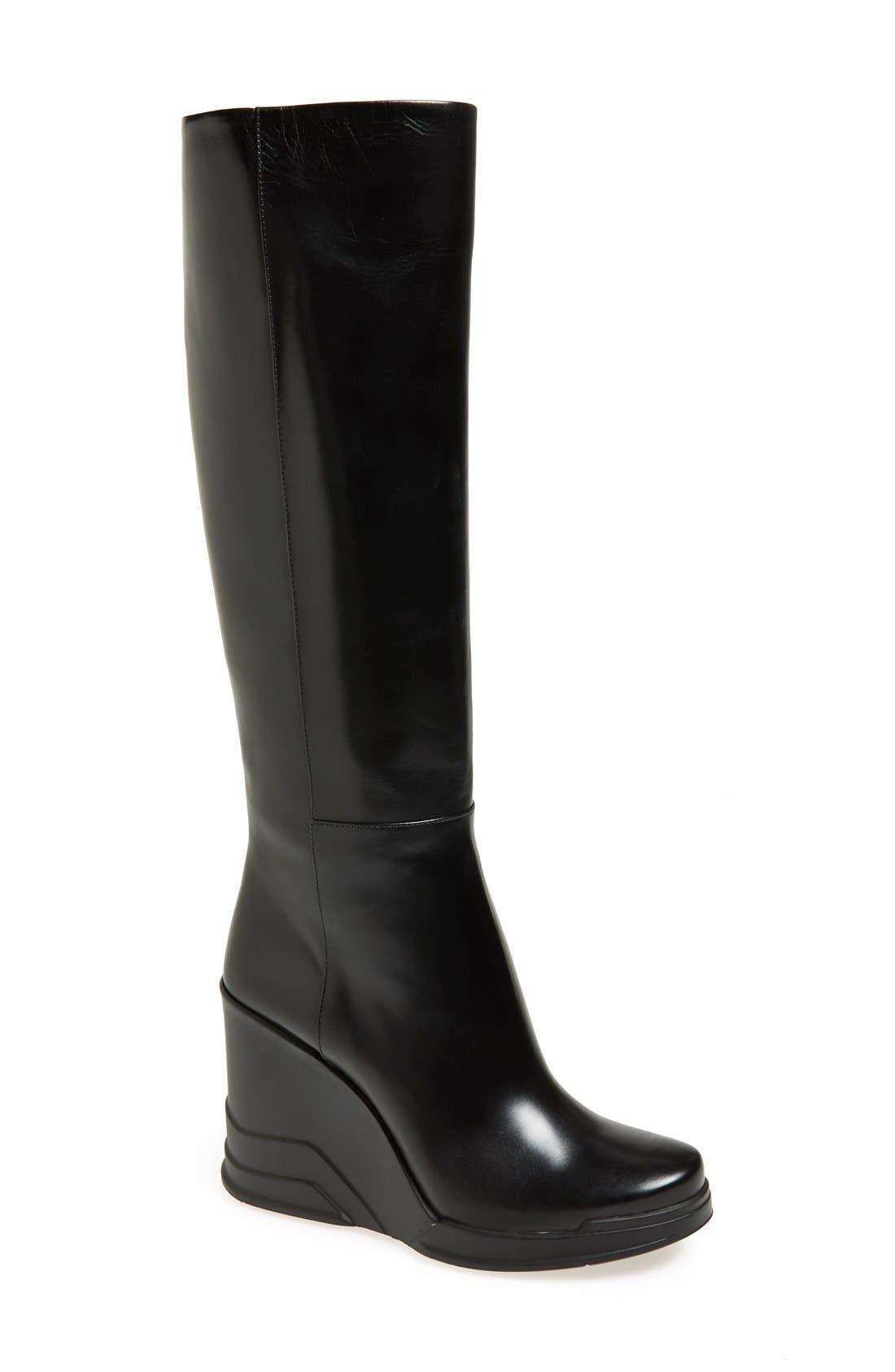 Alternate Image 1 Selected - Prada Knee High Wedge Boot (Women)