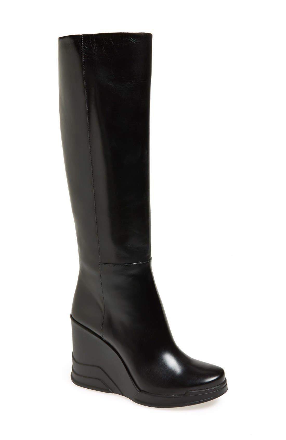 Main Image - Prada Knee High Wedge Boot (Women)