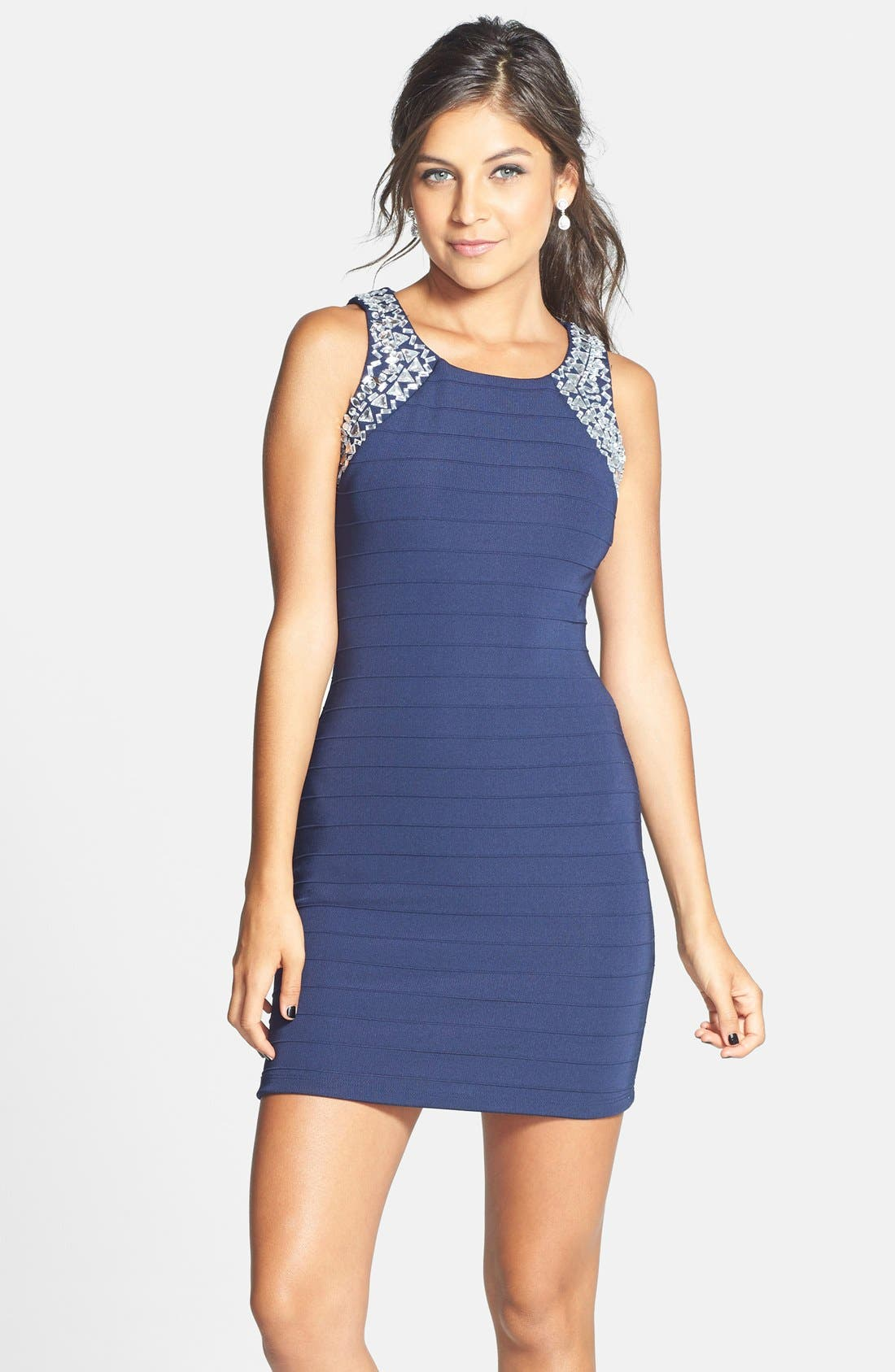 Main Image - Sequin Hearts Embellished Body-Con Dress (Juniors)