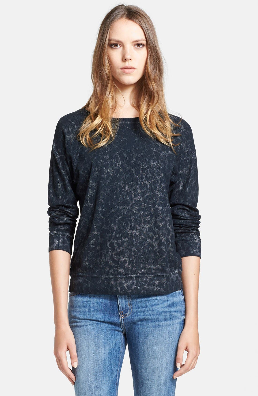 Main Image - Current/Elliott 'The Letterman' Print Destroyed Sweatshirt